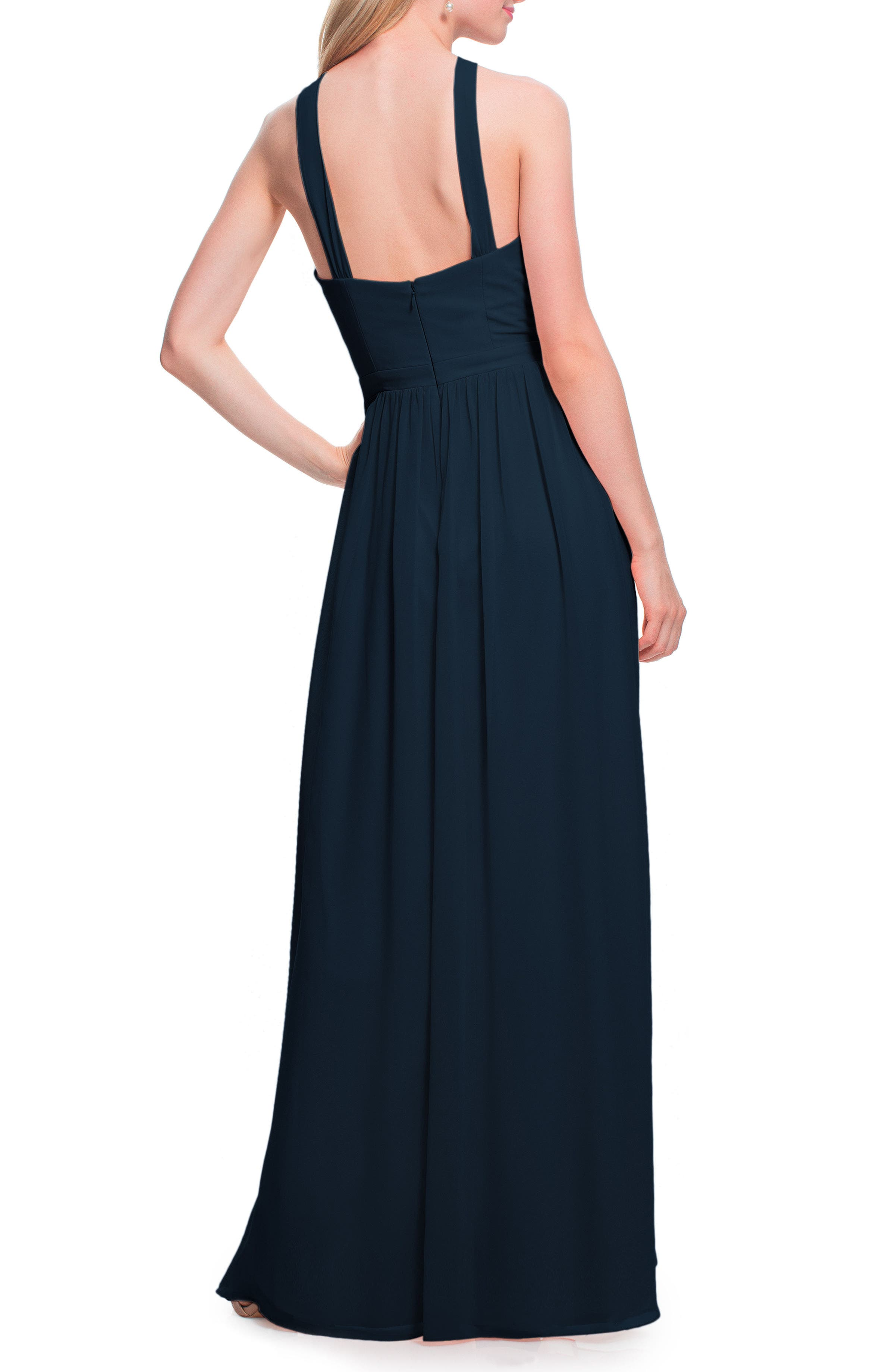 #LEVKOFF, Halter Neck Chiffon Gown, Alternate thumbnail 2, color, NAVY