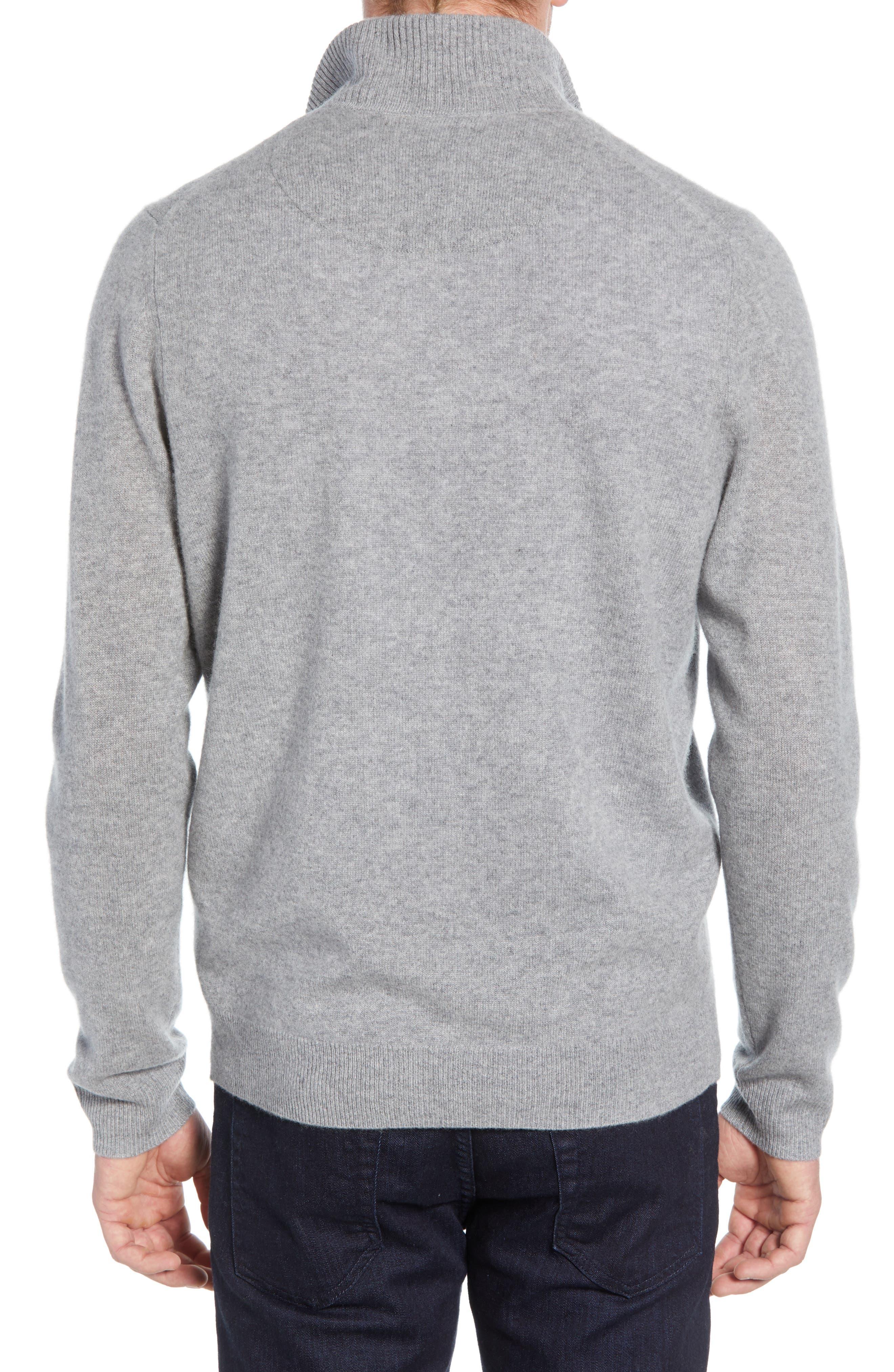 NORDSTROM MEN'S SHOP, Regular Fit Cashmere Quarter Zip Pullover, Alternate thumbnail 2, color, GREY DRIFTWOOD