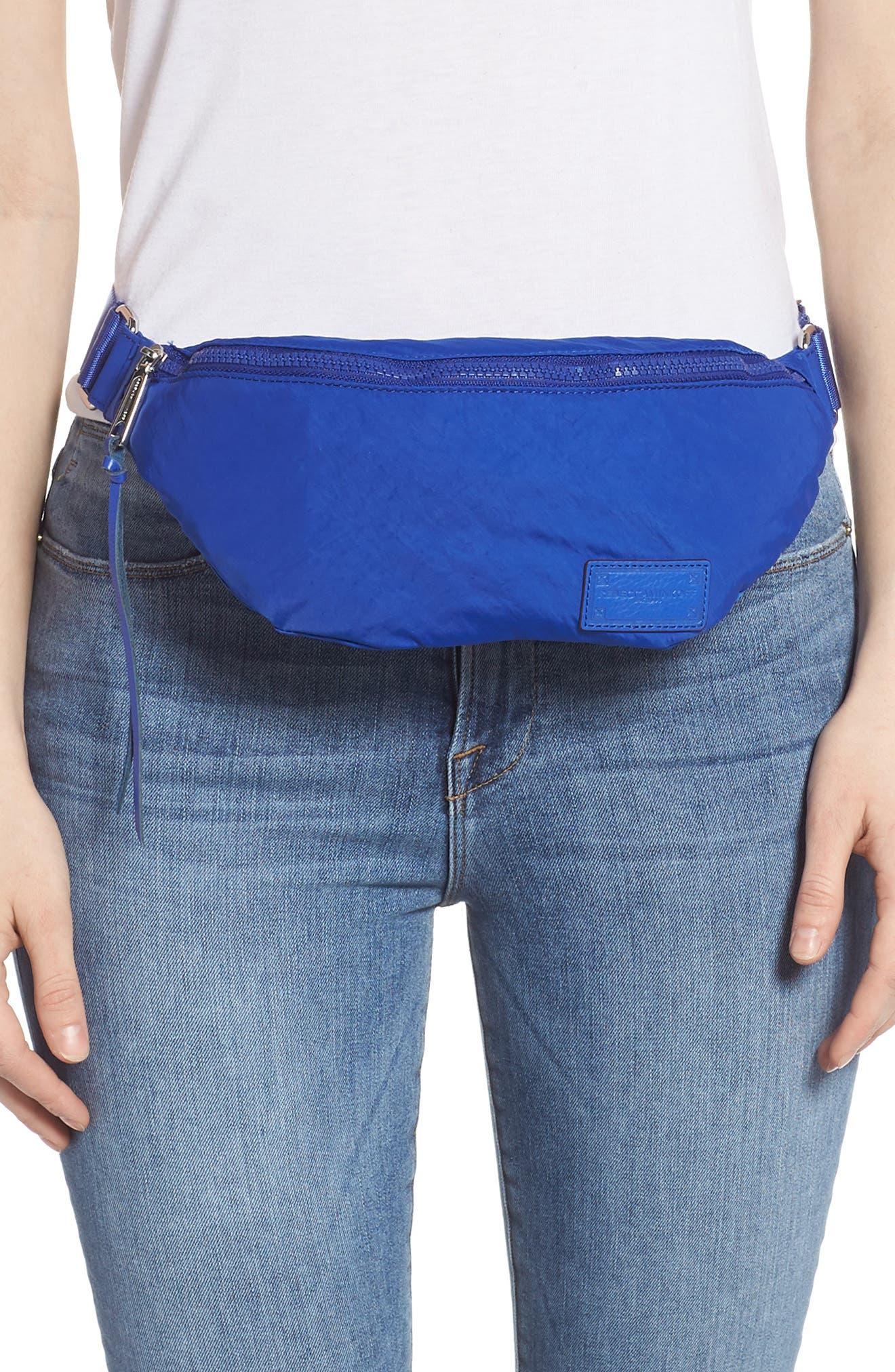 REBECCA MINKOFF, Nylon Belt Bag, Alternate thumbnail 2, color, BRIGHT BLUE