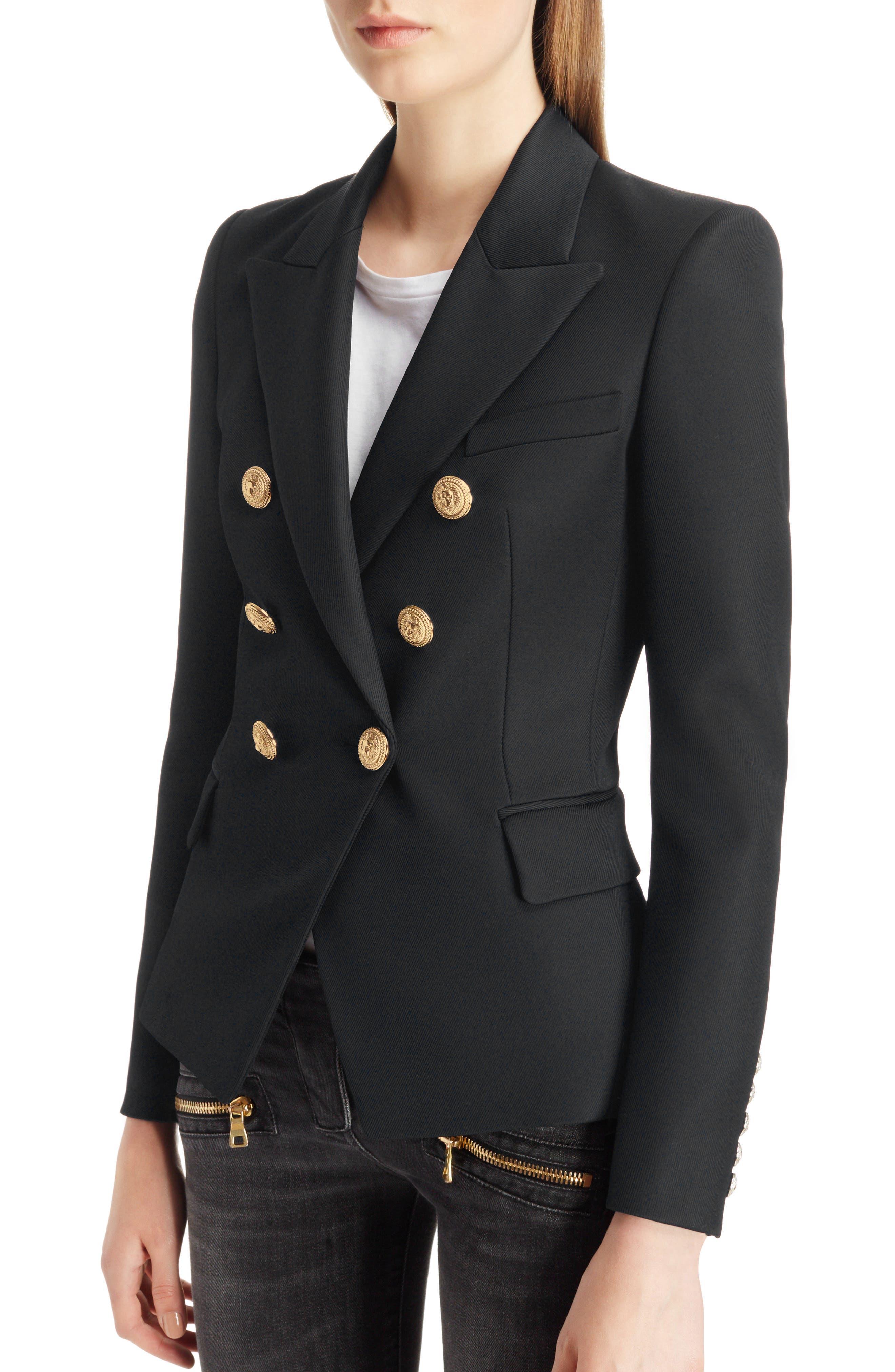 BALMAIN, Double Breasted Wool Blazer, Alternate thumbnail 4, color, BLACK/GOLD