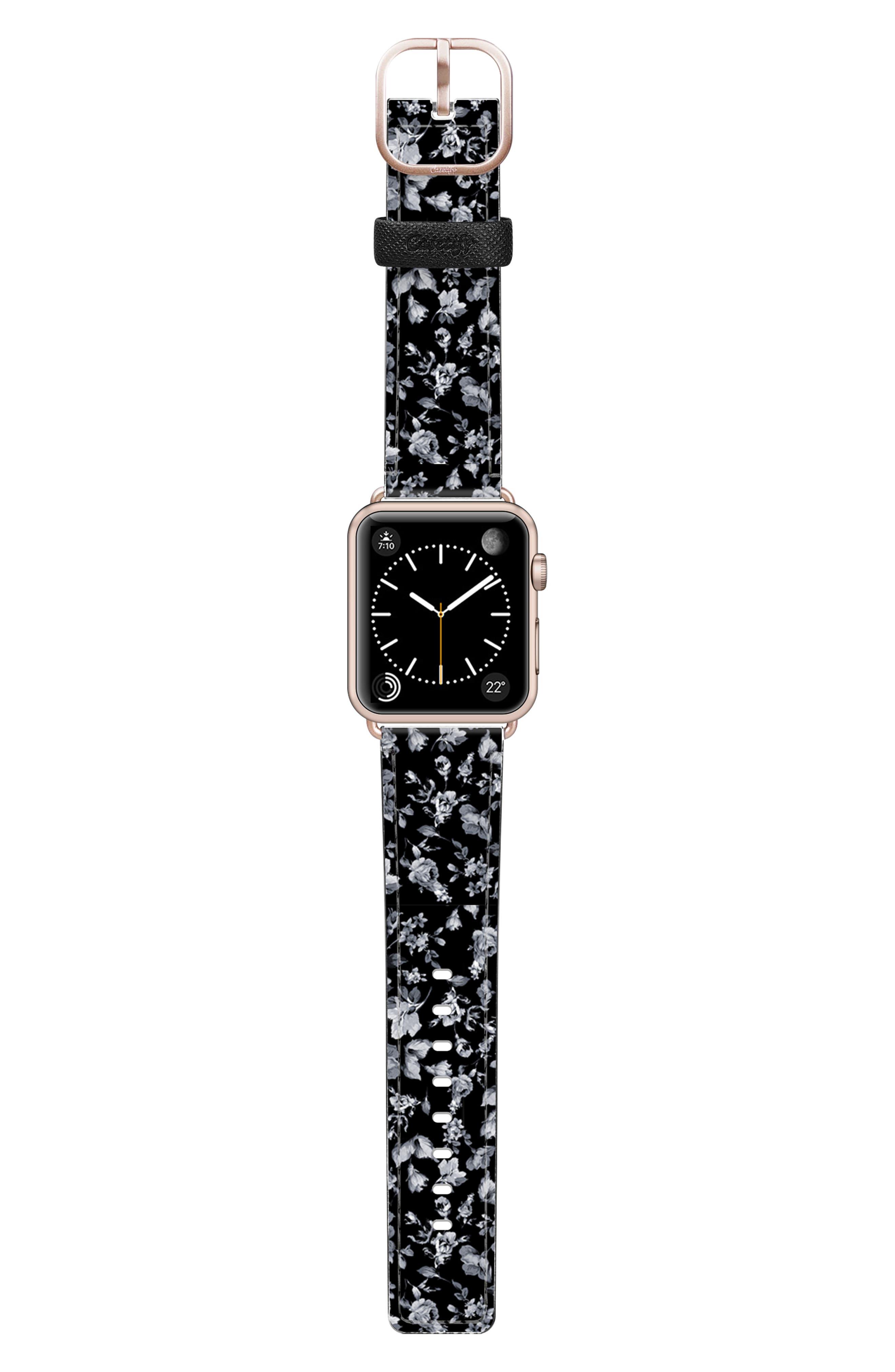 CASETIFY, Vintage Flowers Saffiano Faux Leather Apple Watch Strap, Alternate thumbnail 3, color, BLACK/ ROSE GOLD