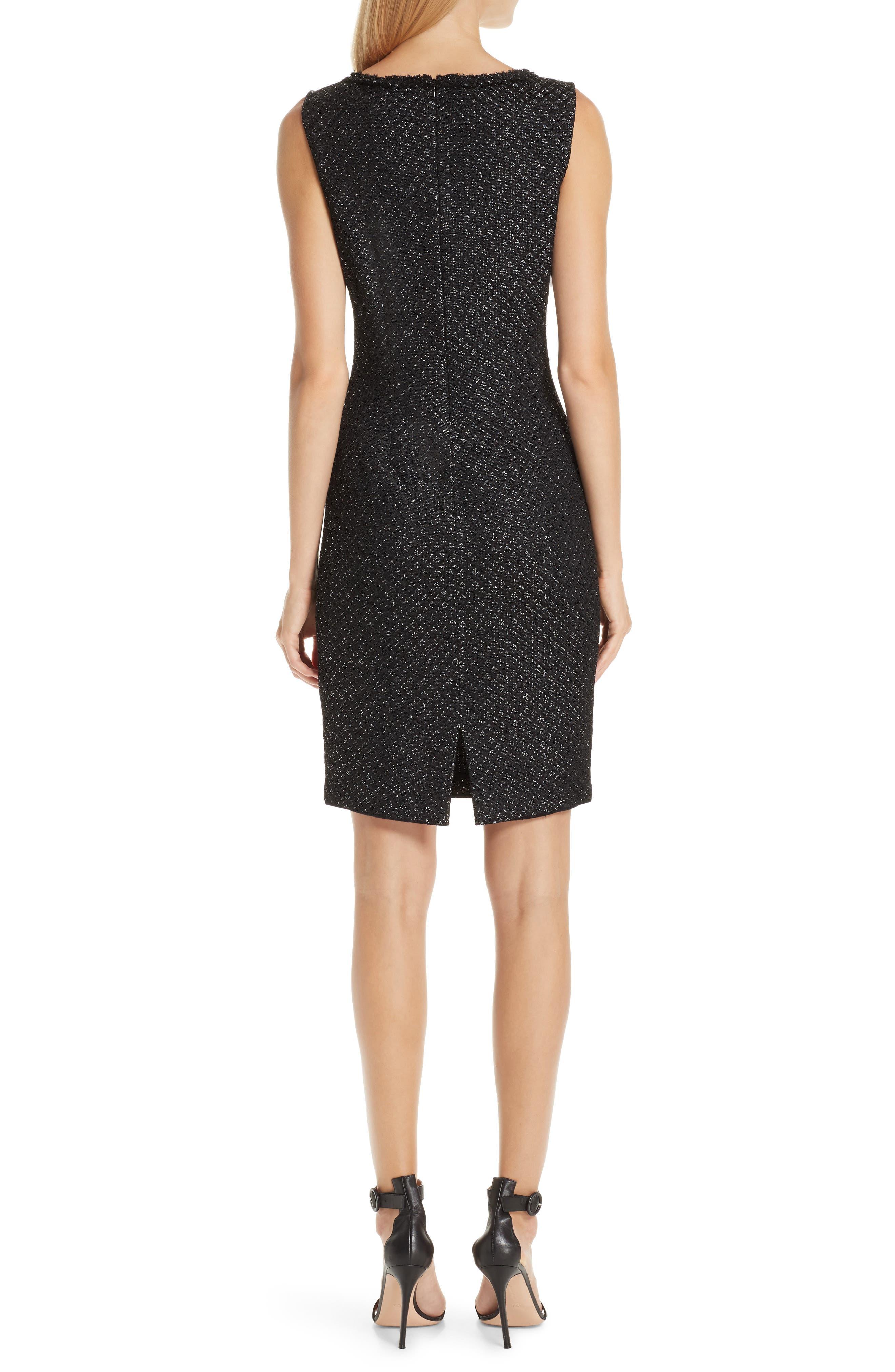 ST. JOHN COLLECTION, Shimmer Inlay Brocade Knit Dress, Alternate thumbnail 2, color, CAVIAR/ SILVER