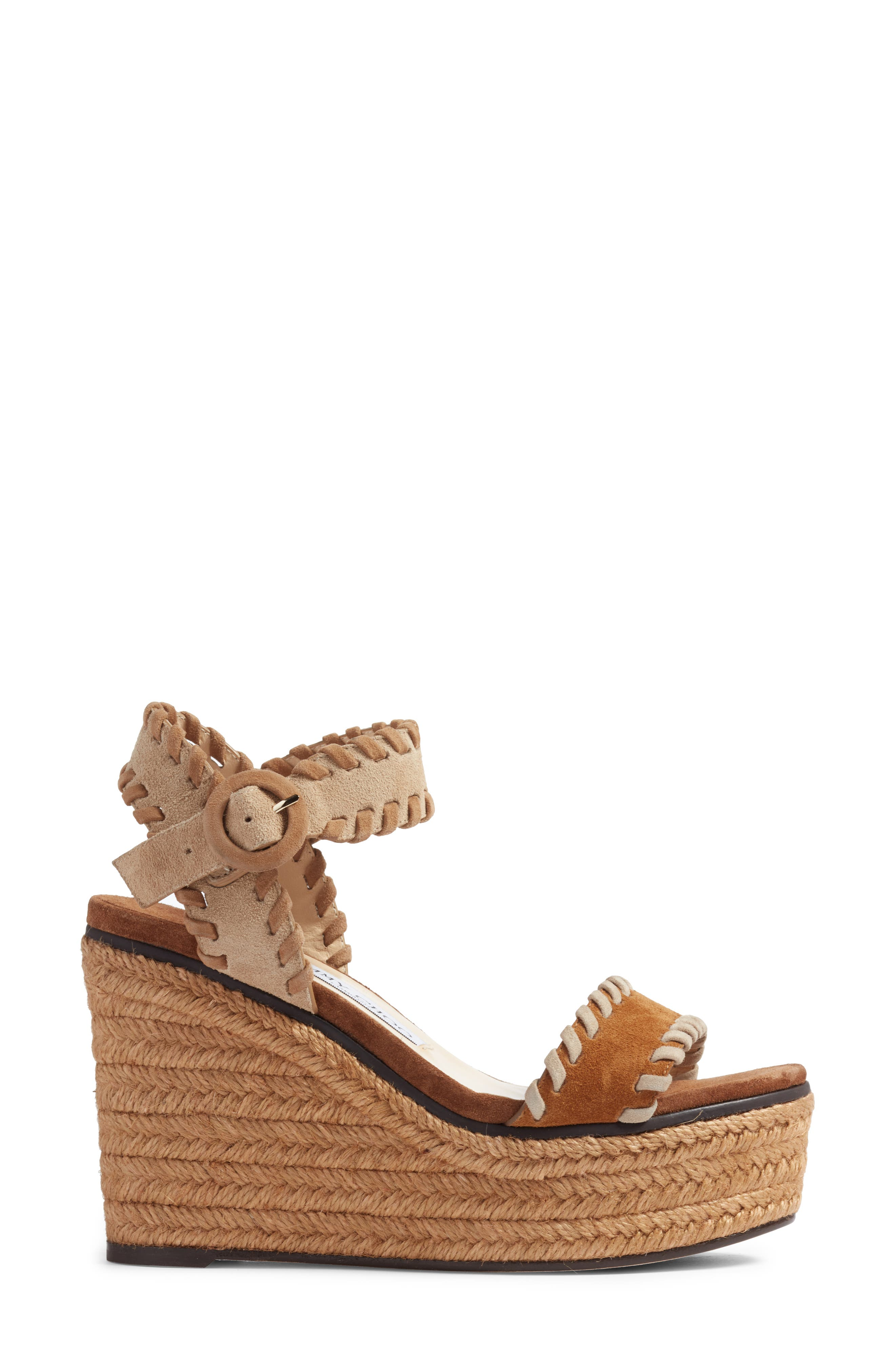 JIMMY CHOO, Abigail Whipstitch Wedge, Alternate thumbnail 3, color, NATURAL/ BROWN