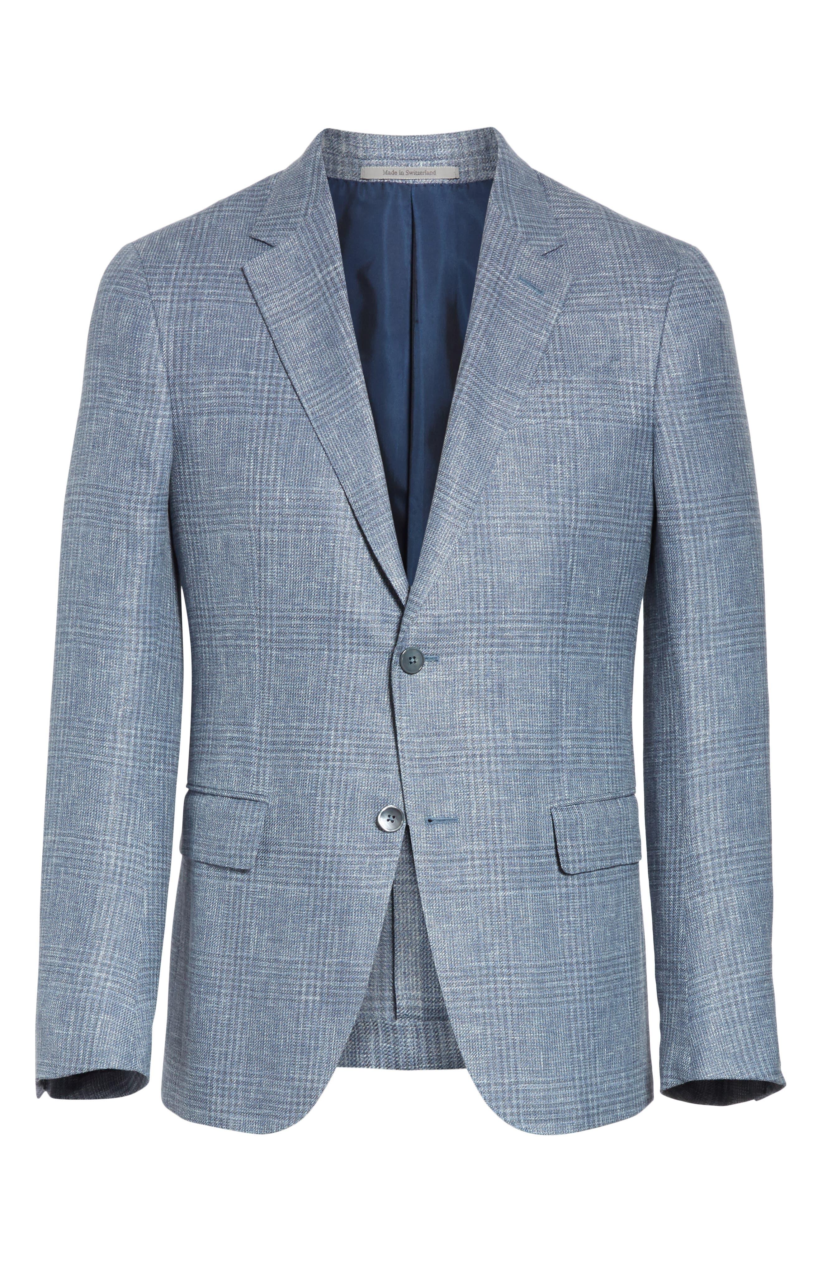 ERMENEGILDO ZEGNA, Milano Classic Fit Plaid Sport Coat, Alternate thumbnail 5, color, BLUE