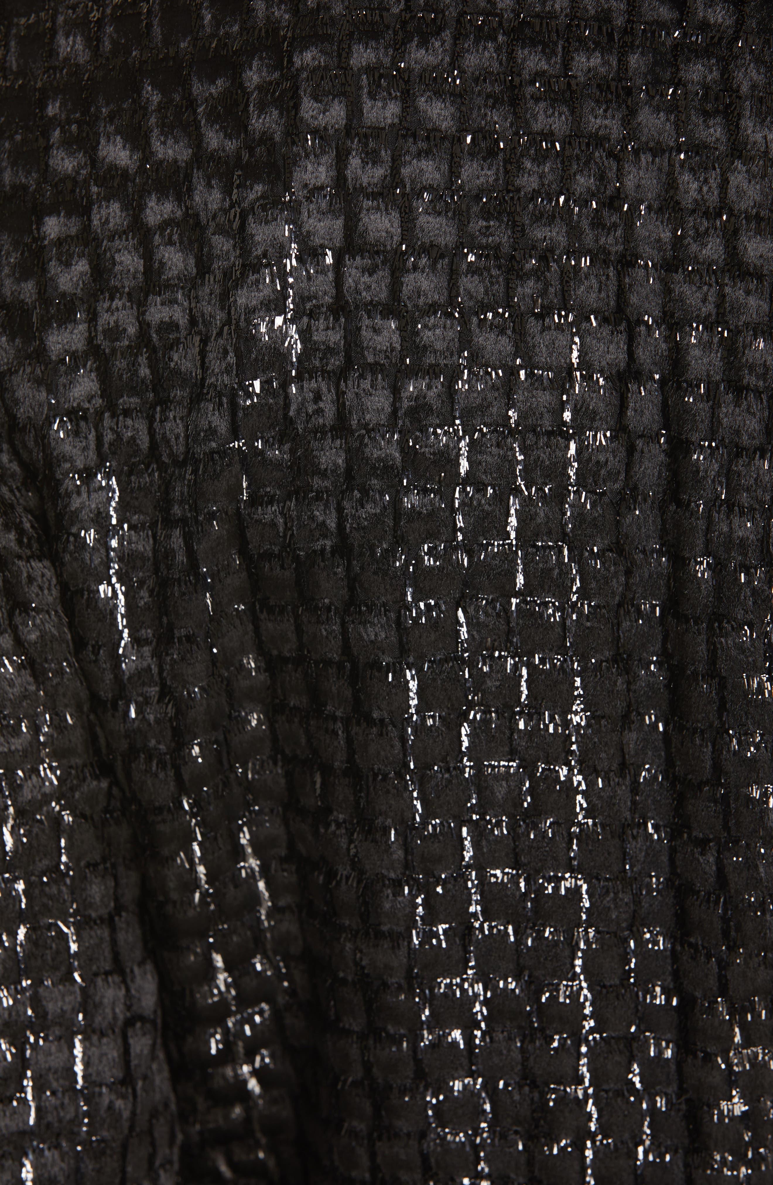 BRANDON MAXWELL, Metallic Velvet Surplice Top, Alternate thumbnail 5, color, BLACK