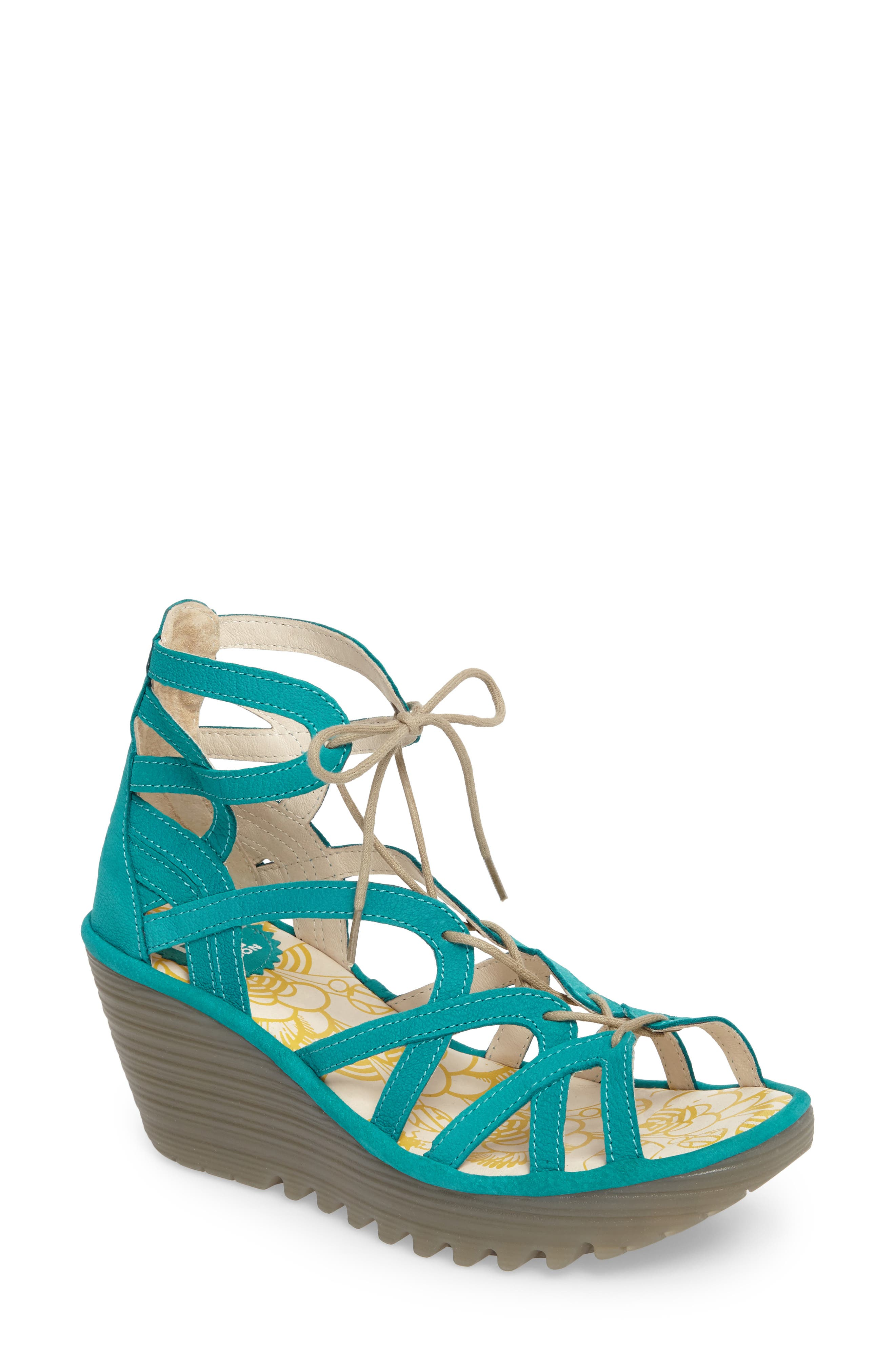 FLY LONDON, 'Yuke' Platform Wedge Sandal, Main thumbnail 1, color, VERDIGRIS LEATHER