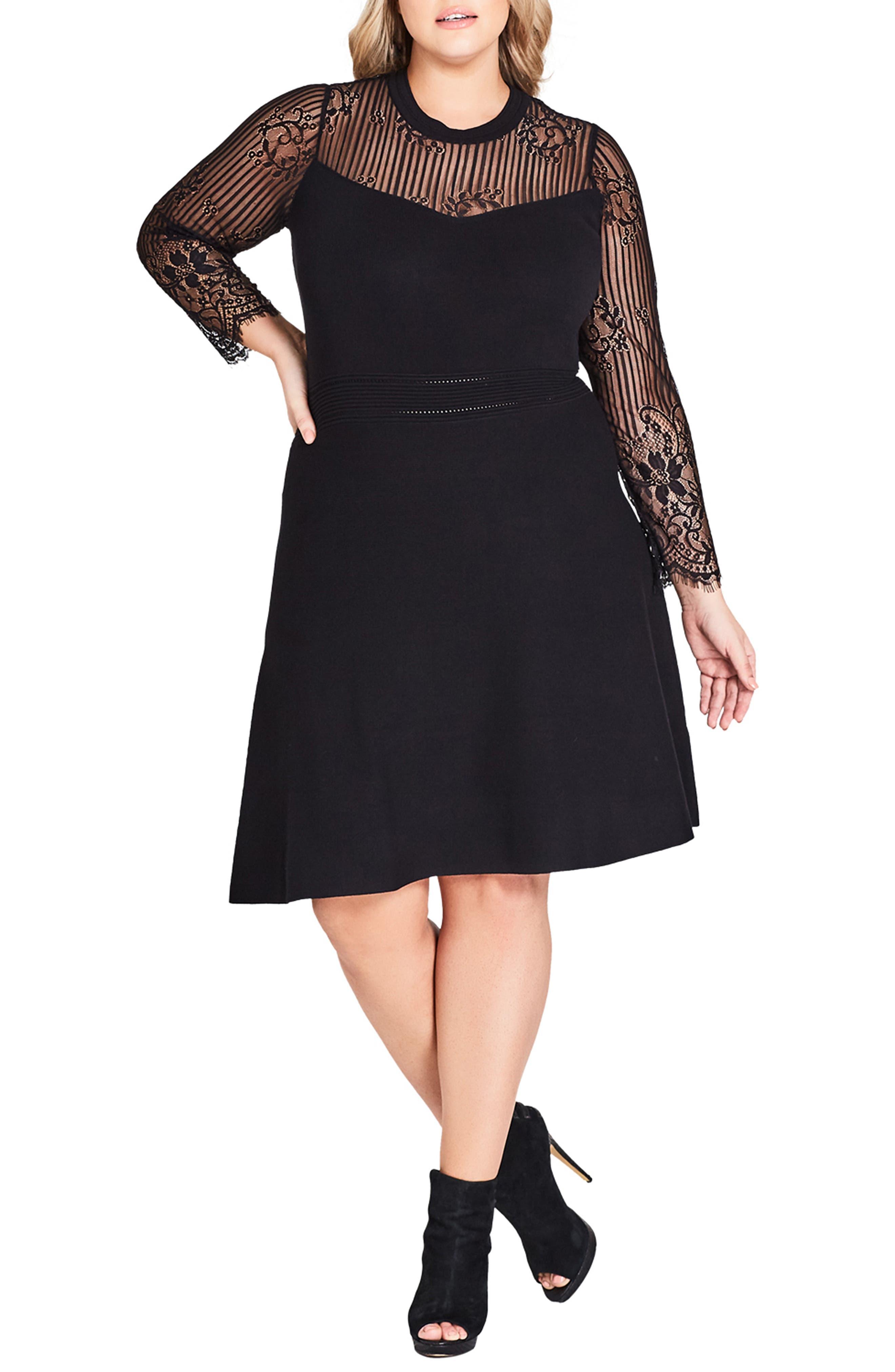 Plus Size City Chic Lace Yoke Fit & Flare Dress, Black