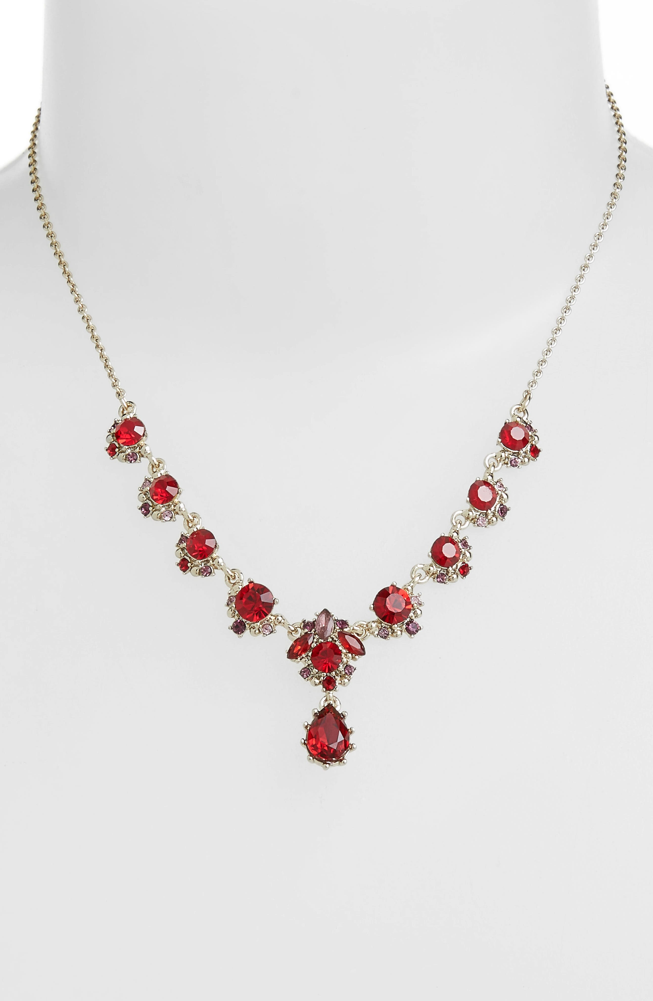 MARCHESA, Crystal Y-Necklace, Alternate thumbnail 2, color, RED MULTI/ GOLD