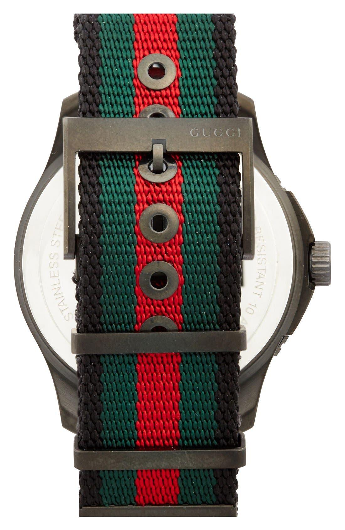 GUCCI, 'G Timeless' Nylon Strap Watch, 44mm, Alternate thumbnail 2, color, 001
