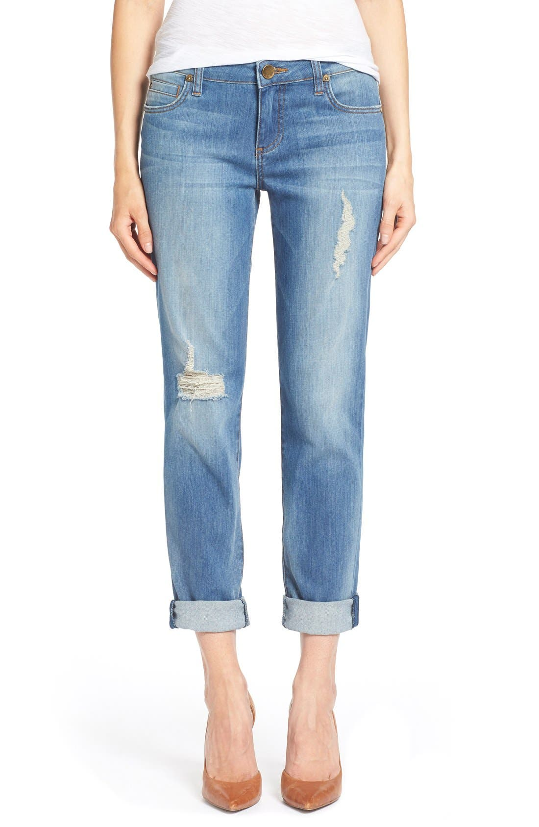 KUT FROM THE KLOTH, 'Catherine' Distressed Stretch Boyfriend Jeans, Main thumbnail 1, color, 401