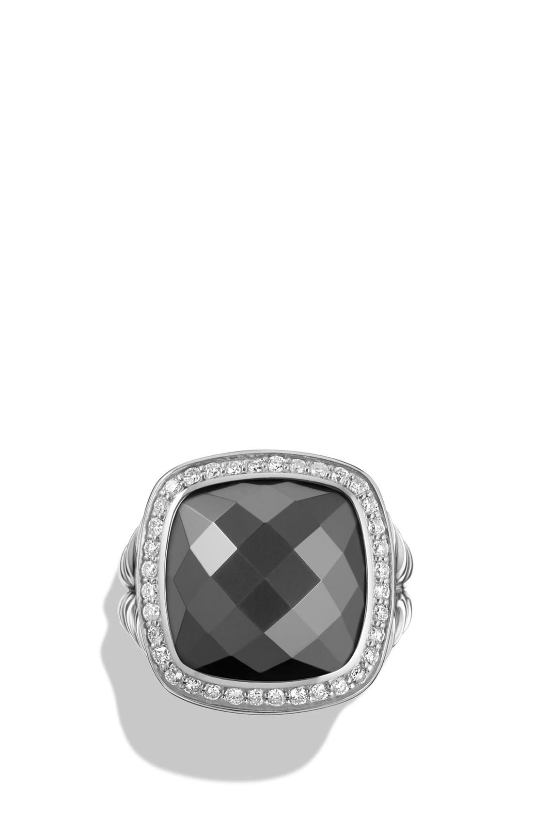 DAVID YURMAN, 'Albion' Ring with Semiprecious Stone and Diamonds, Alternate thumbnail 3, color, HEMATINE