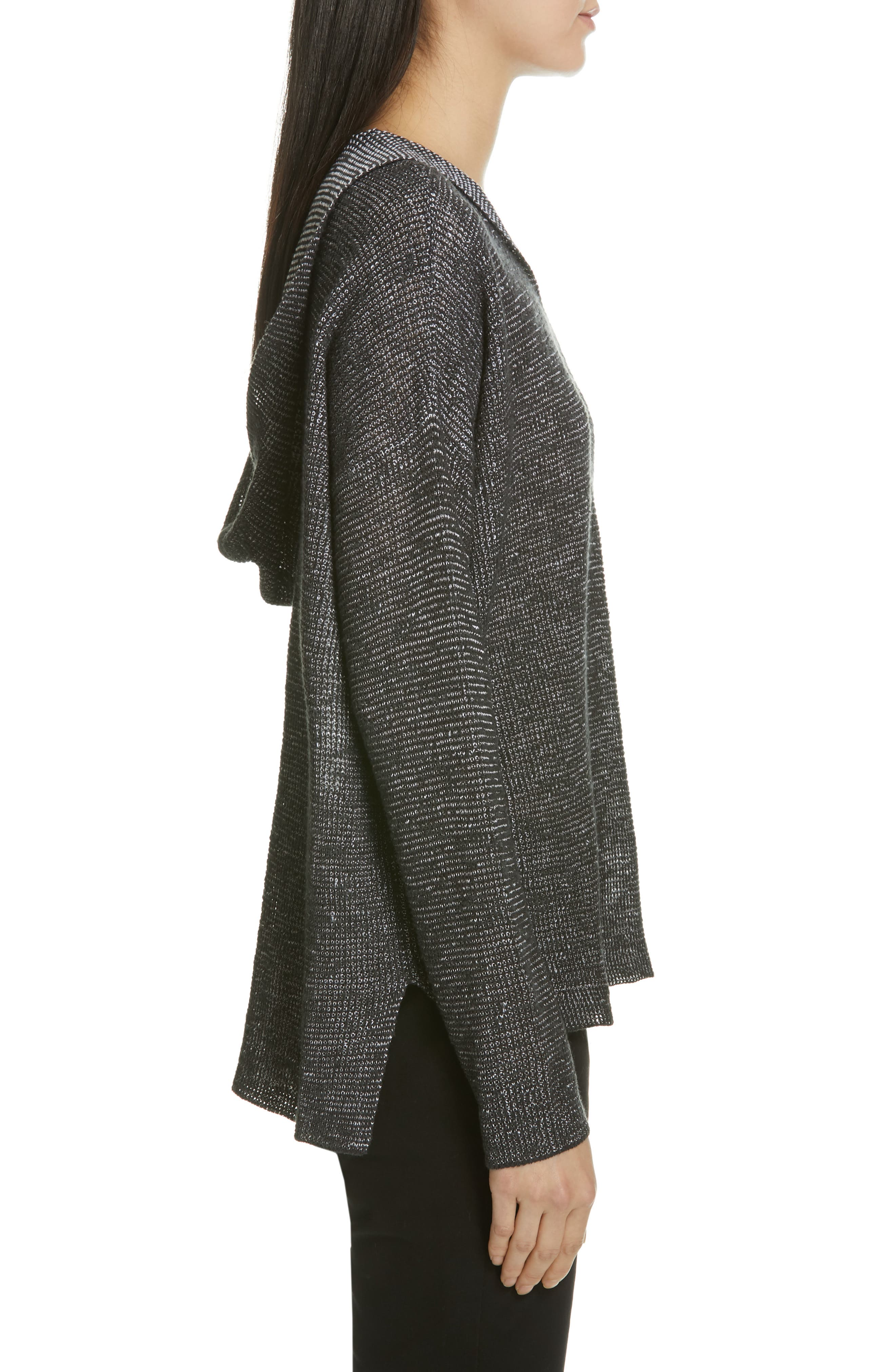 EILEEN FISHER, Organic Linen & Cotton Boxy Hooded Top, Alternate thumbnail 3, color, CHARCOAL