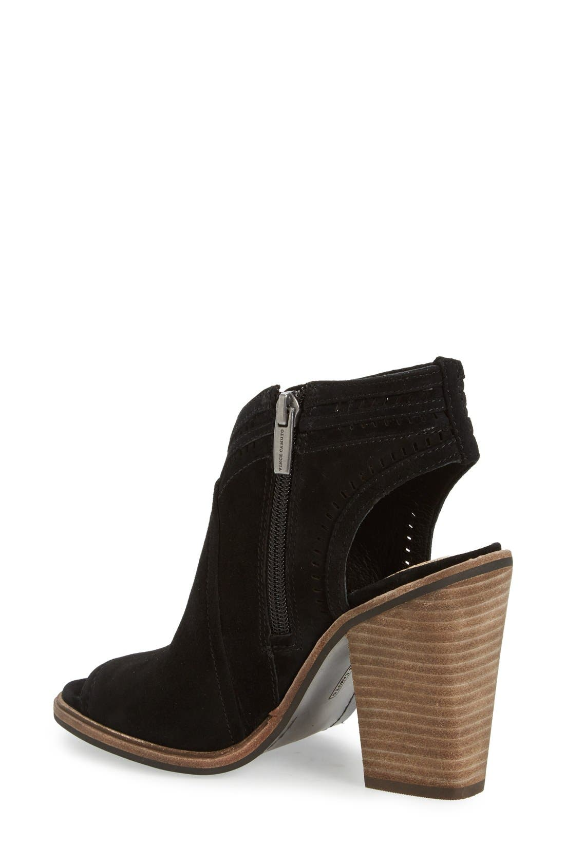 VINCE CAMUTO, 'Koral' Perforated Open Toe Bootie, Alternate thumbnail 2, color, 001