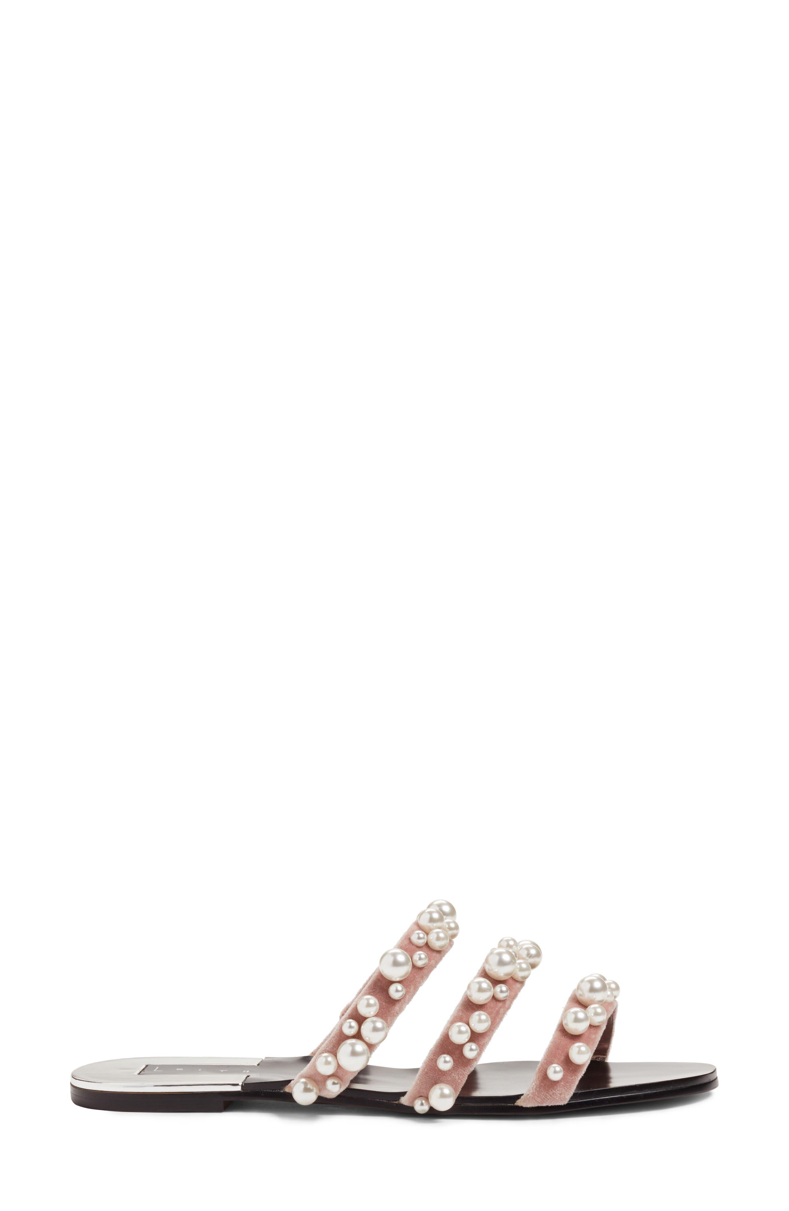 LEITH, Stunner Embellished Strappy Slide Sandal, Alternate thumbnail 3, color, BLUSH VELVET