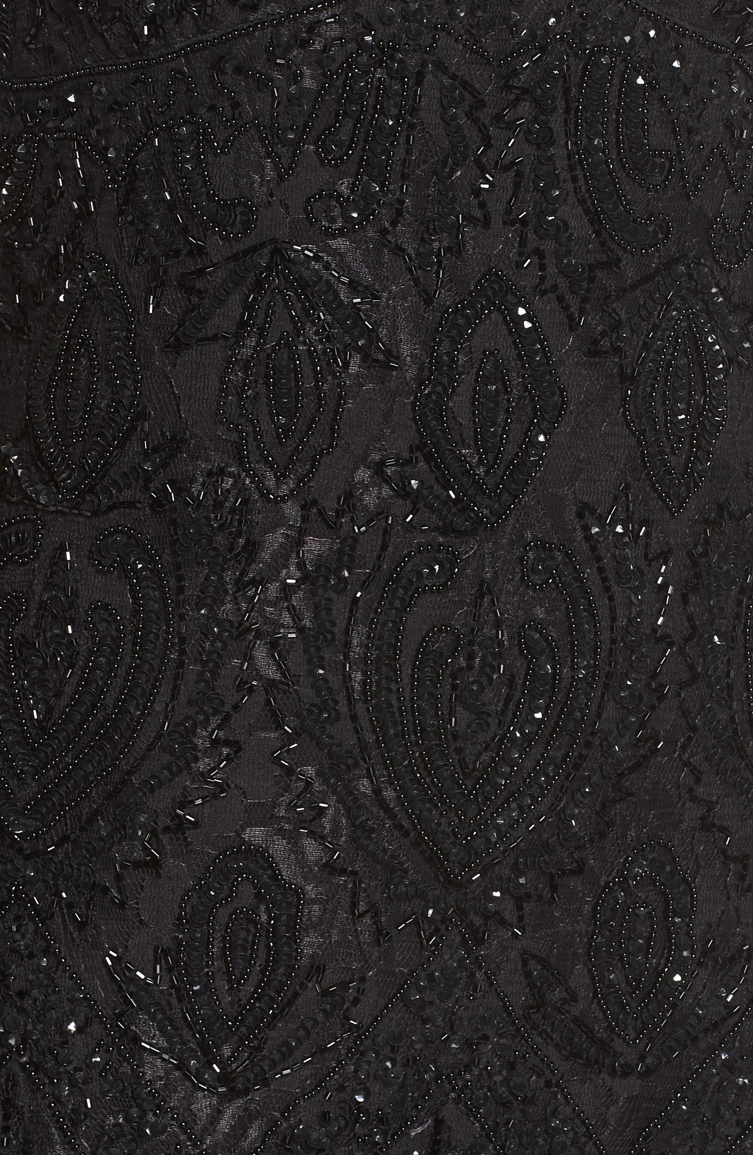 PISARRO NIGHTS, Beaded Lace Evening Dress with Bolero, Alternate thumbnail 6, color, BLACK