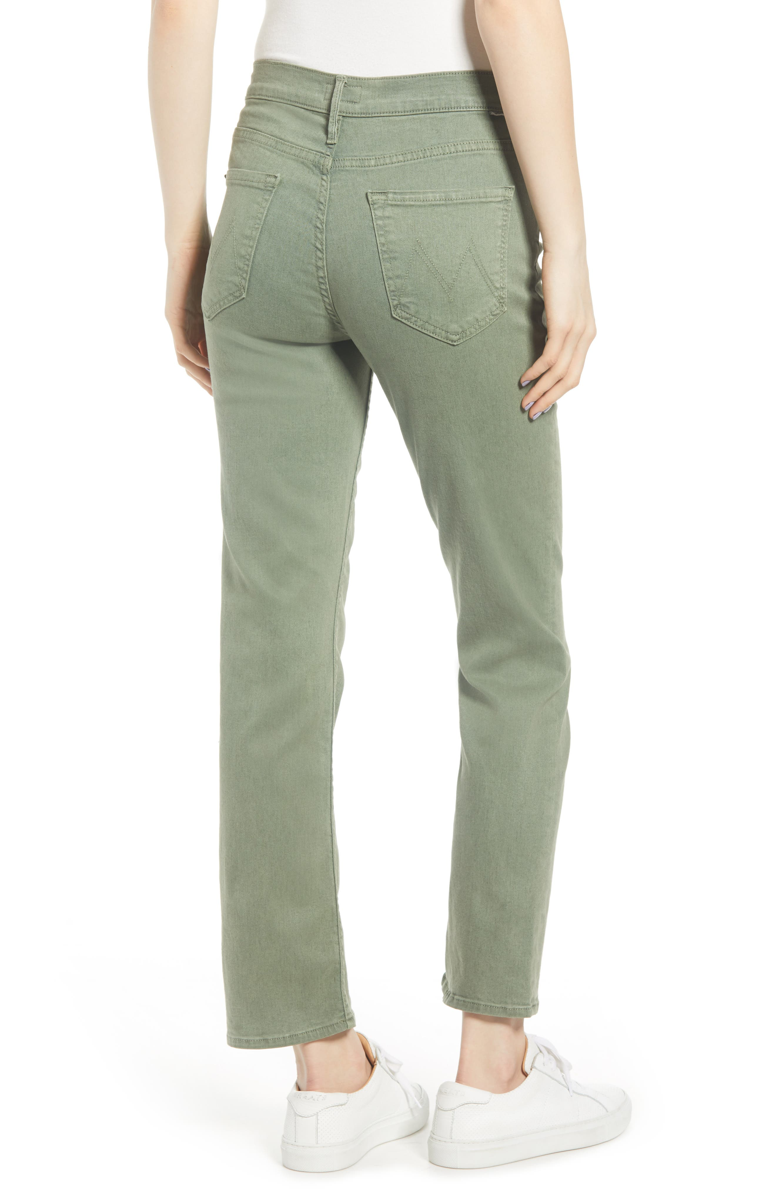 MOTHER, The Dutchie Super High Waist Ankle Straight Leg Jeans, Alternate thumbnail 2, color, ARMY GREEN
