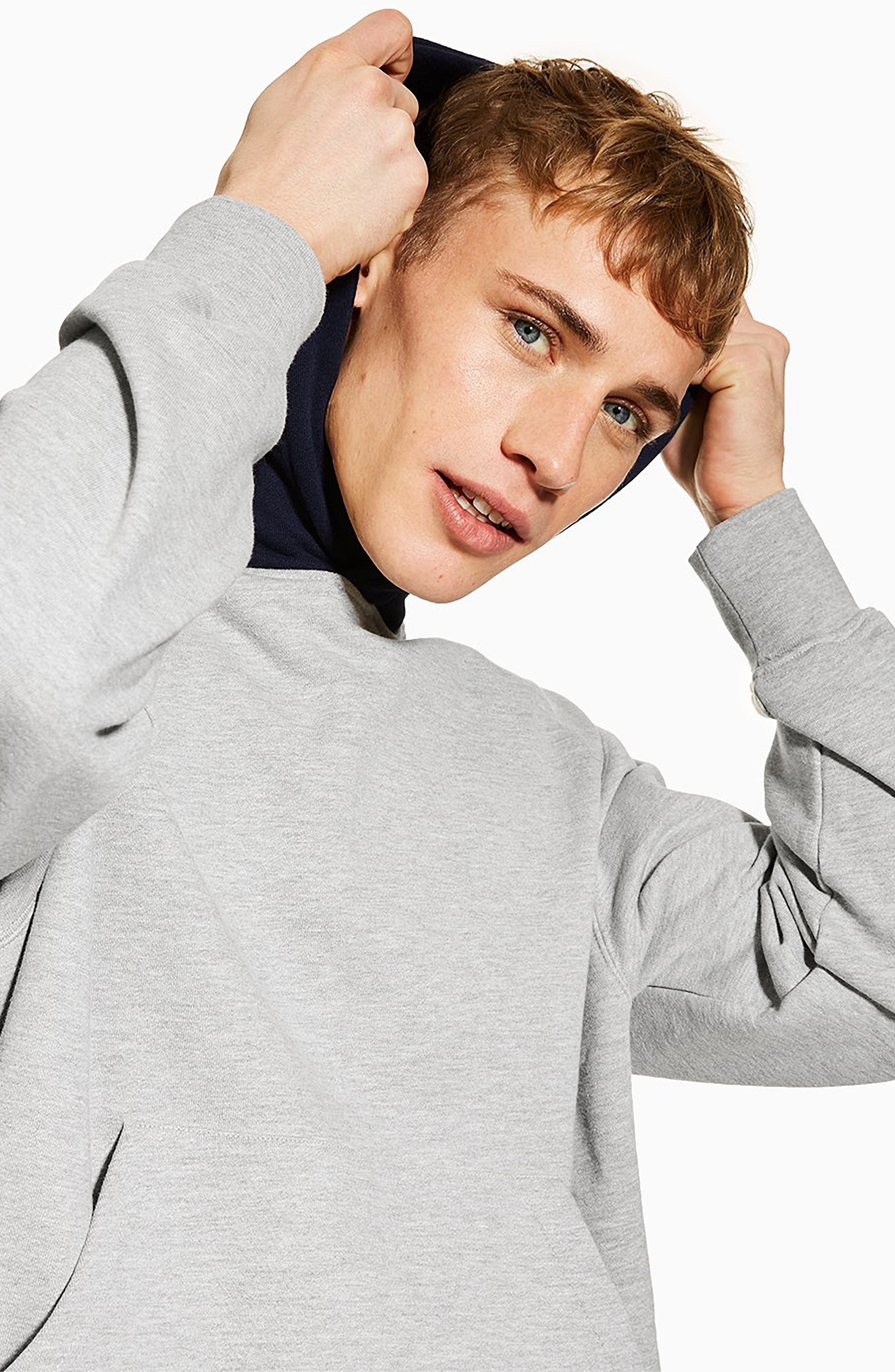 TOPMAN, Classic Contrast Hooded Sweatshirt, Alternate thumbnail 4, color, GREY