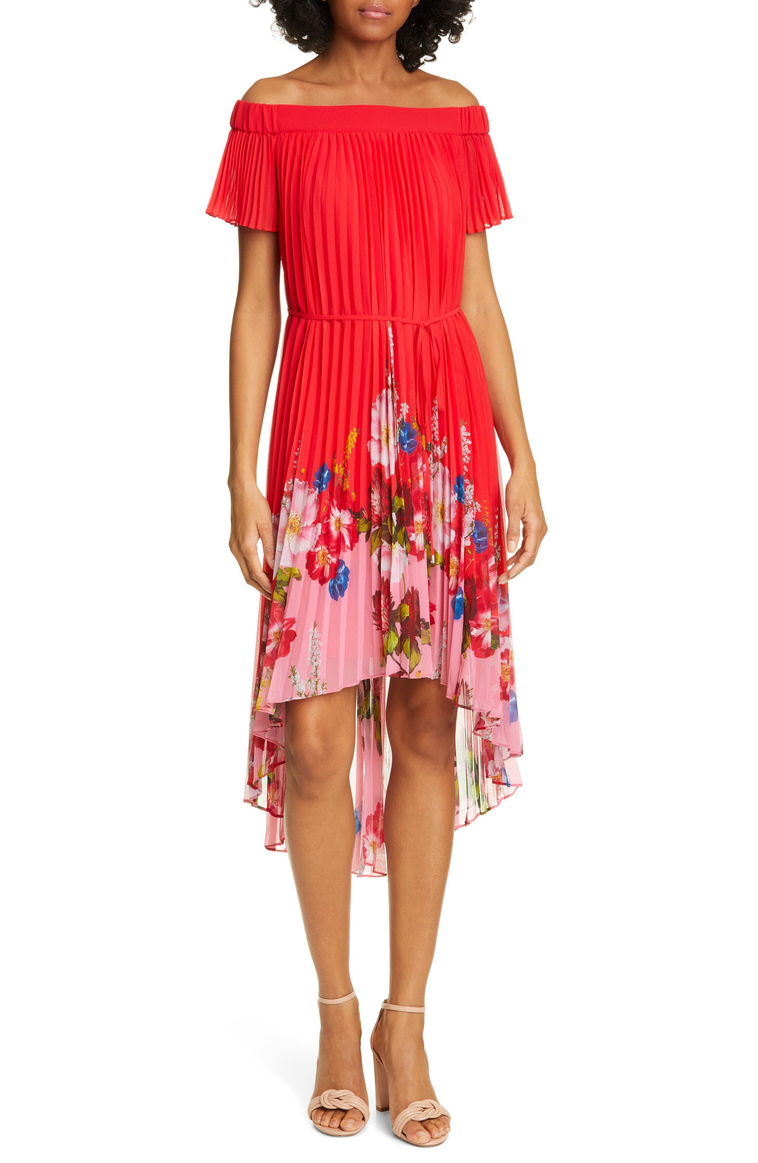 Ted Baker London Berry Sundae Floral Pleat Off The Shoulder Dress, Red