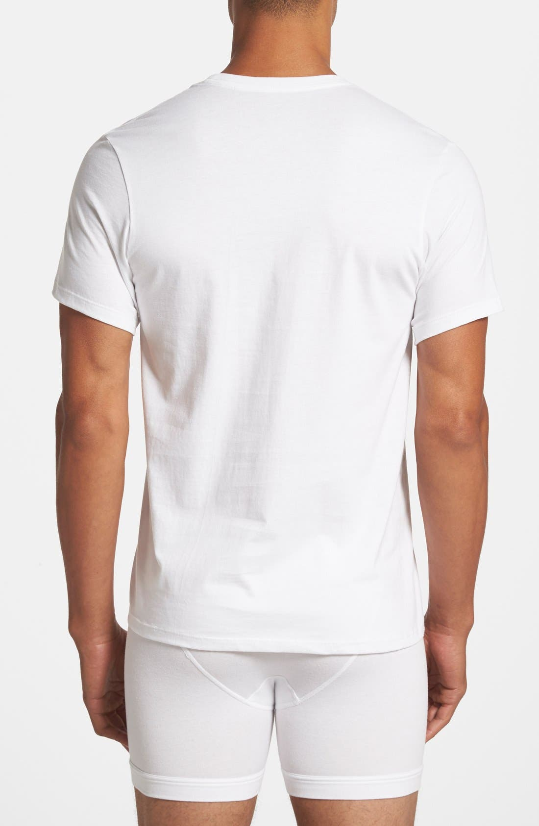 CALVIN KLEIN, 3-Pack Cotton T-Shirt, Alternate thumbnail 3, color, WHITE