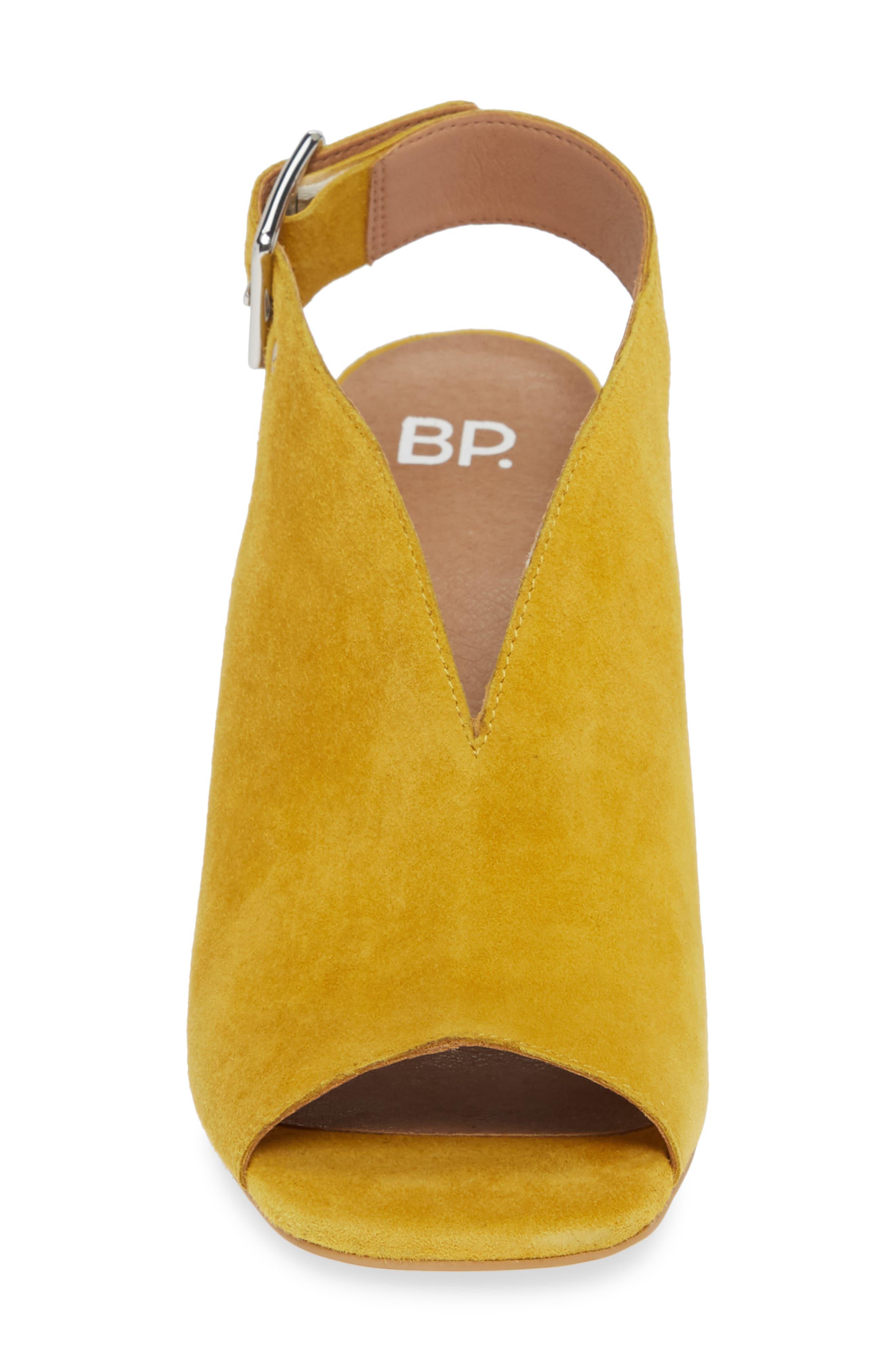BP., Block Heel Sandal, Alternate thumbnail 4, color, YELLOW SUEDE