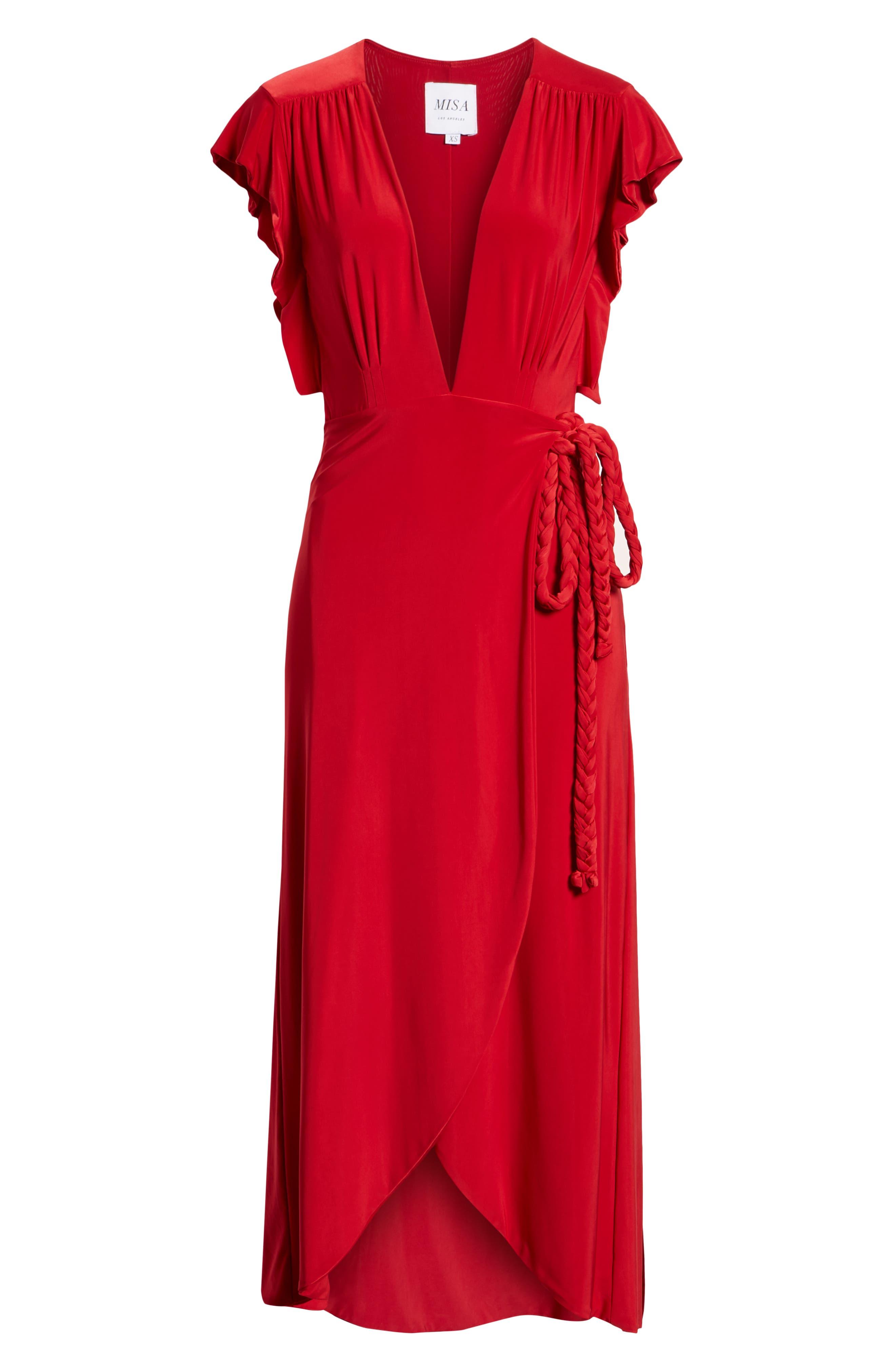MISA LOS ANGELES, Irina Dress, Alternate thumbnail 7, color, RED
