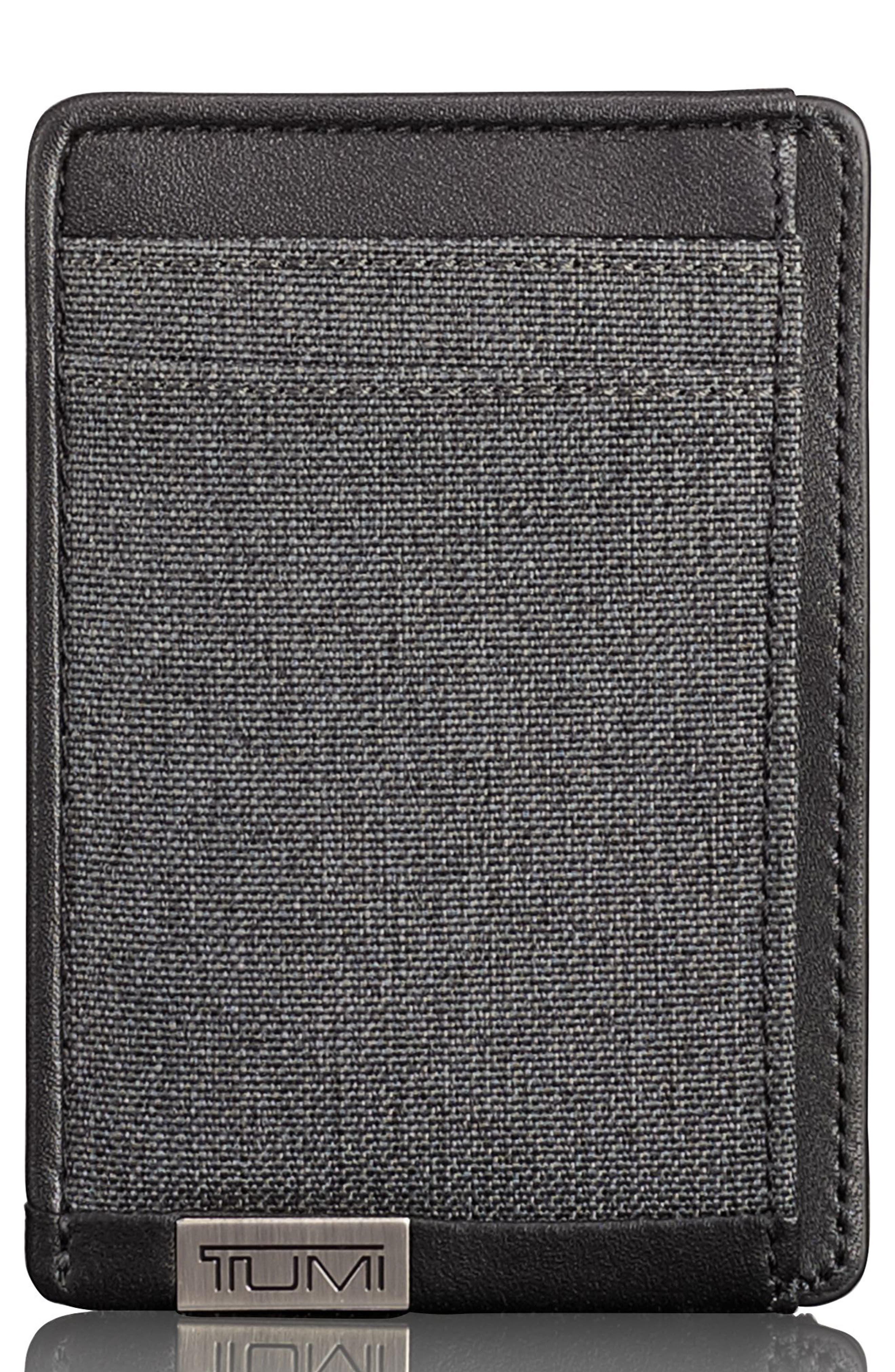 TUMI, Alpha Money Clip Card Case, Main thumbnail 1, color, ANTHRACITE/ BLACK