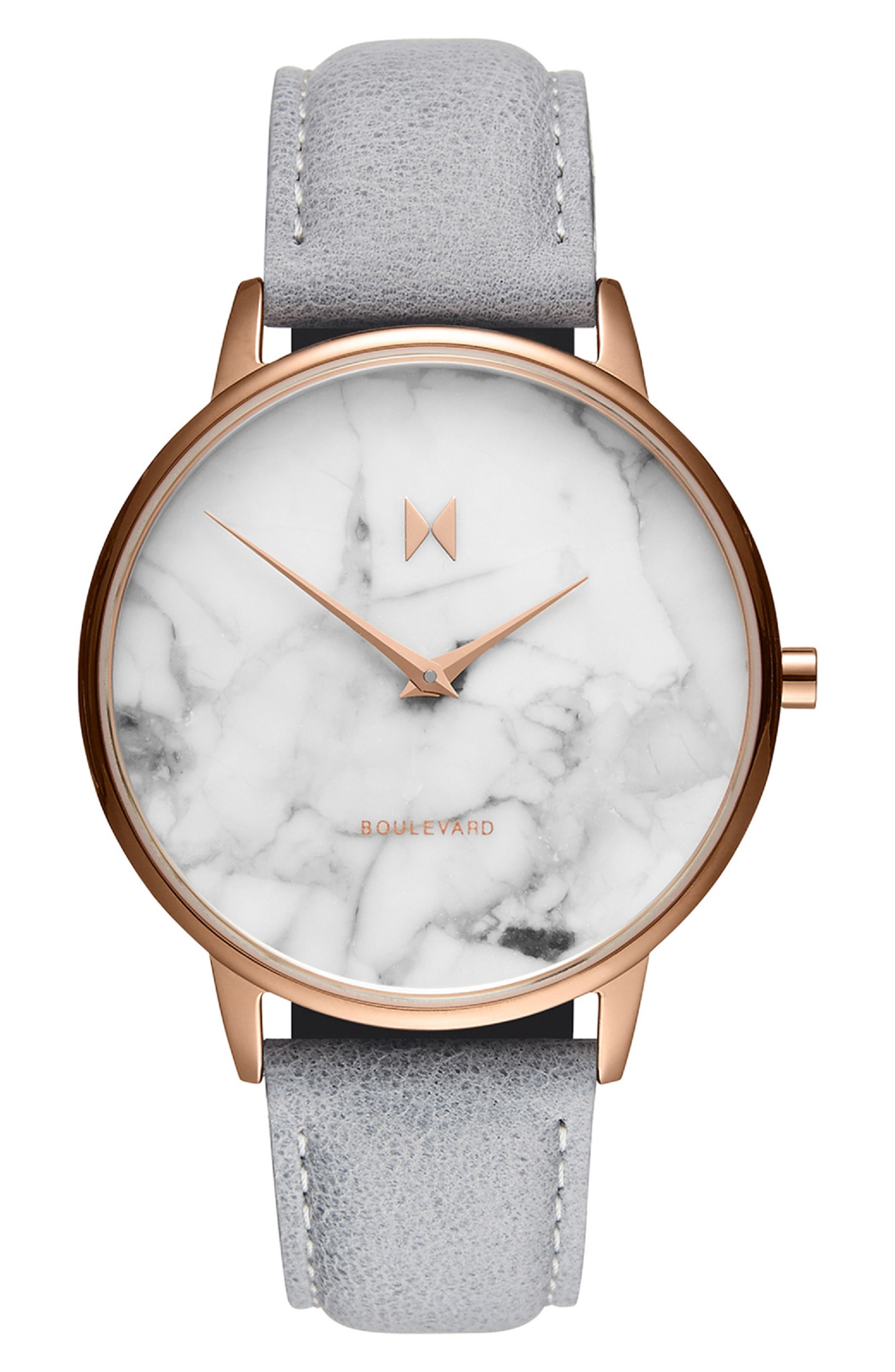 MVMT Boulevard Leather Strap Watch, 38mm, Main, color, GREY/ WHITE MARBLE/ ROSE GOLD