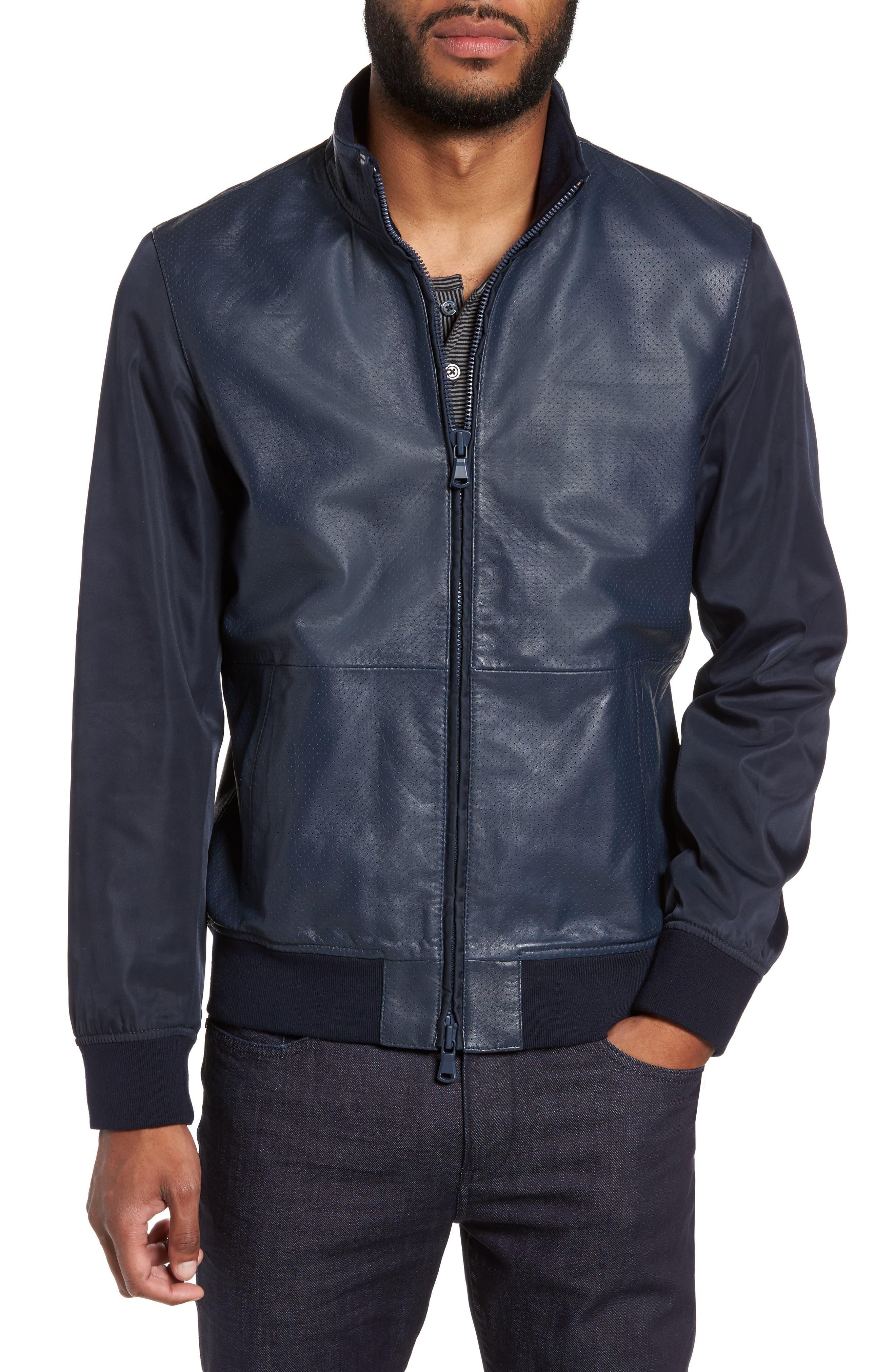 ZACHARY PRELL Mixed Media Jacket, Main, color, NAVY