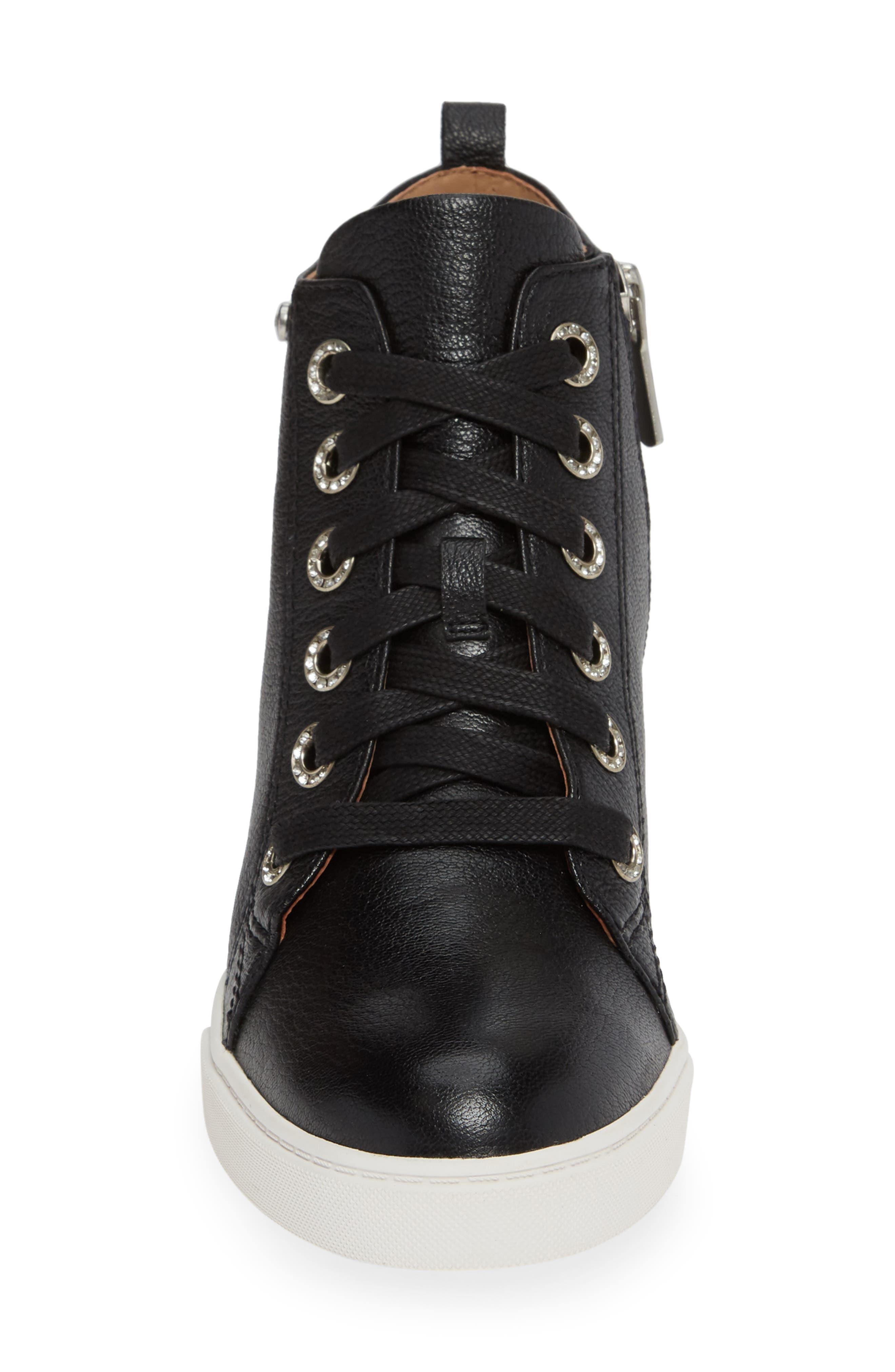 LINEA PAOLO, Flint Wedge Sneaker, Alternate thumbnail 4, color, BLACK LEATHER