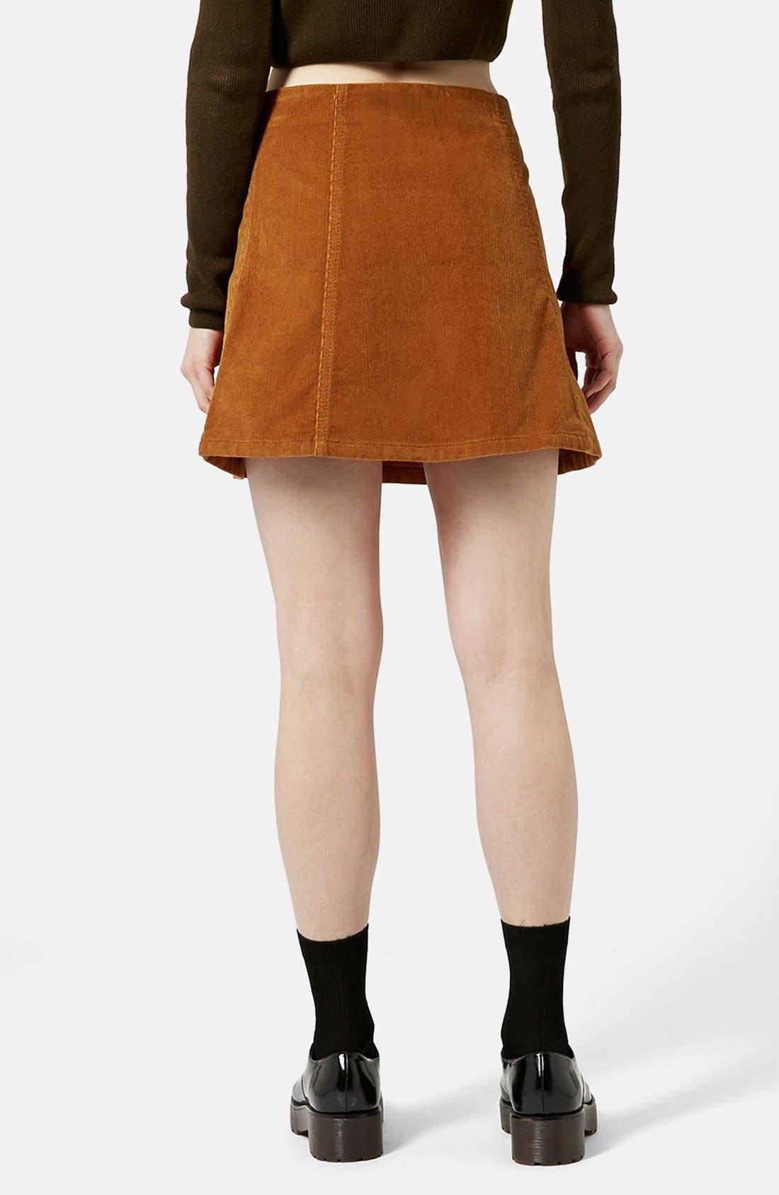 TOPSHOP, A-Line Corduroy Skirt, Alternate thumbnail 2, color, 210