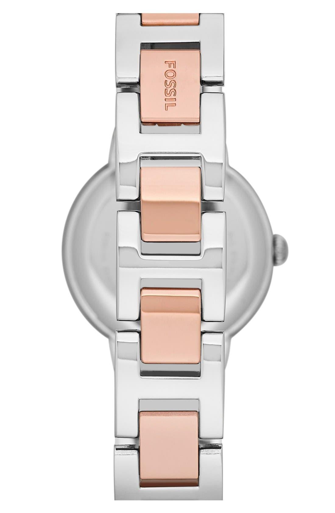 FOSSIL, 'Virginia' Crystal Bezel Bracelet Watch, 30mm, Alternate thumbnail 2, color, ROSE GOLD/ SILVER