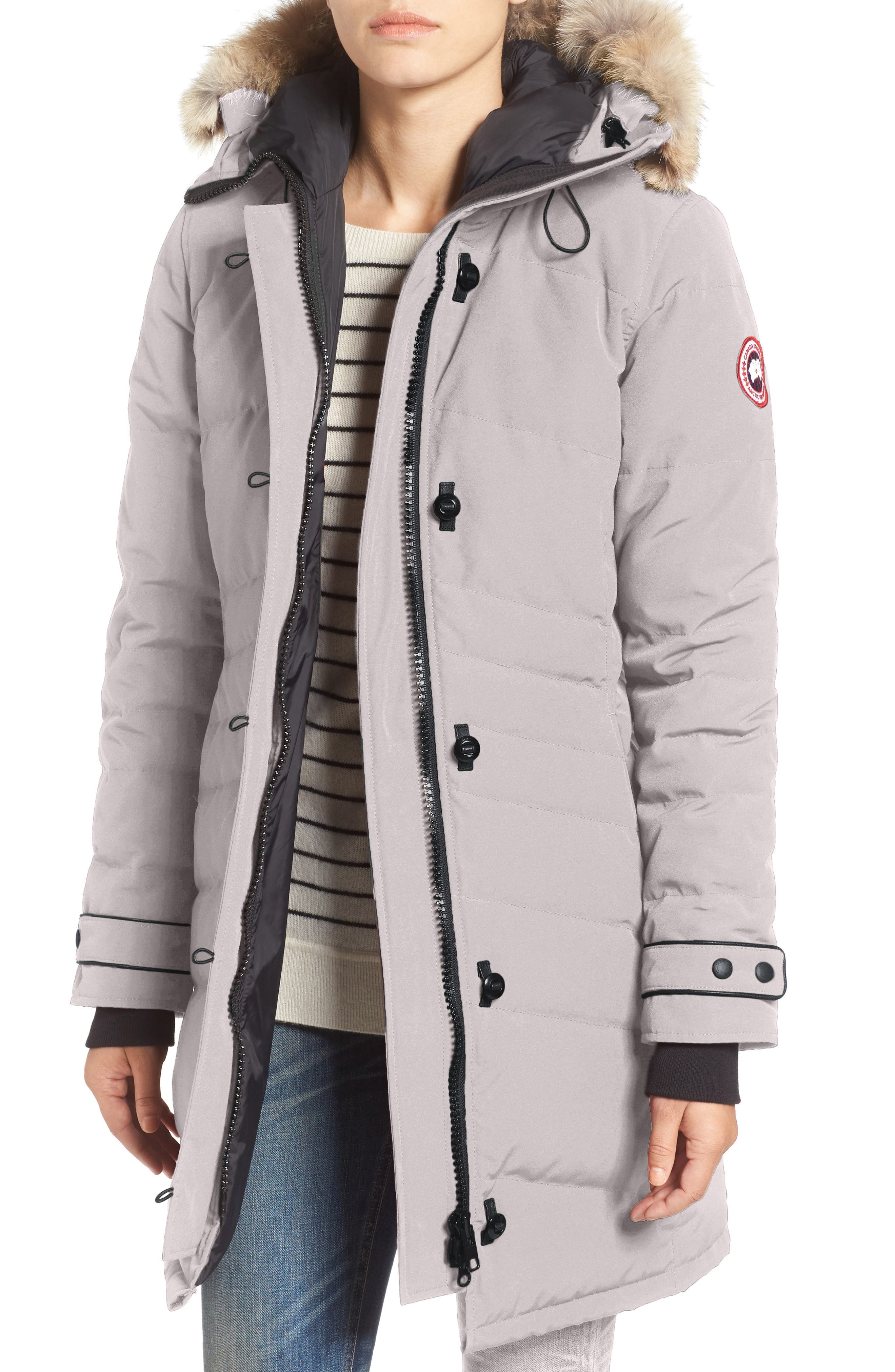 CANADA GOOSE, 'Lorette' Hooded Down Parka with Genuine Coyote Fur Trim, Main thumbnail 1, color, LIMESTONE