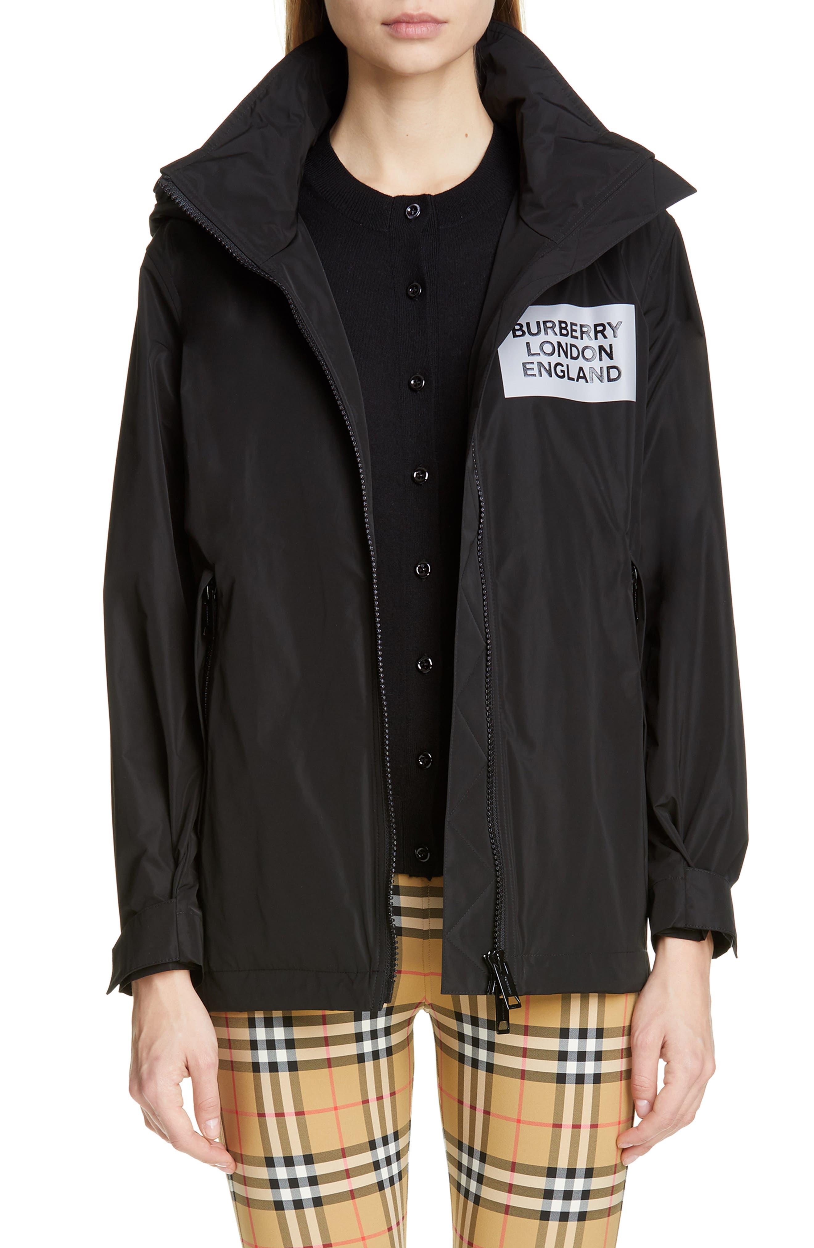BURBERRY Kway Millport Logo Print Waterproof Taffeta Jacket, Main, color, BLACK