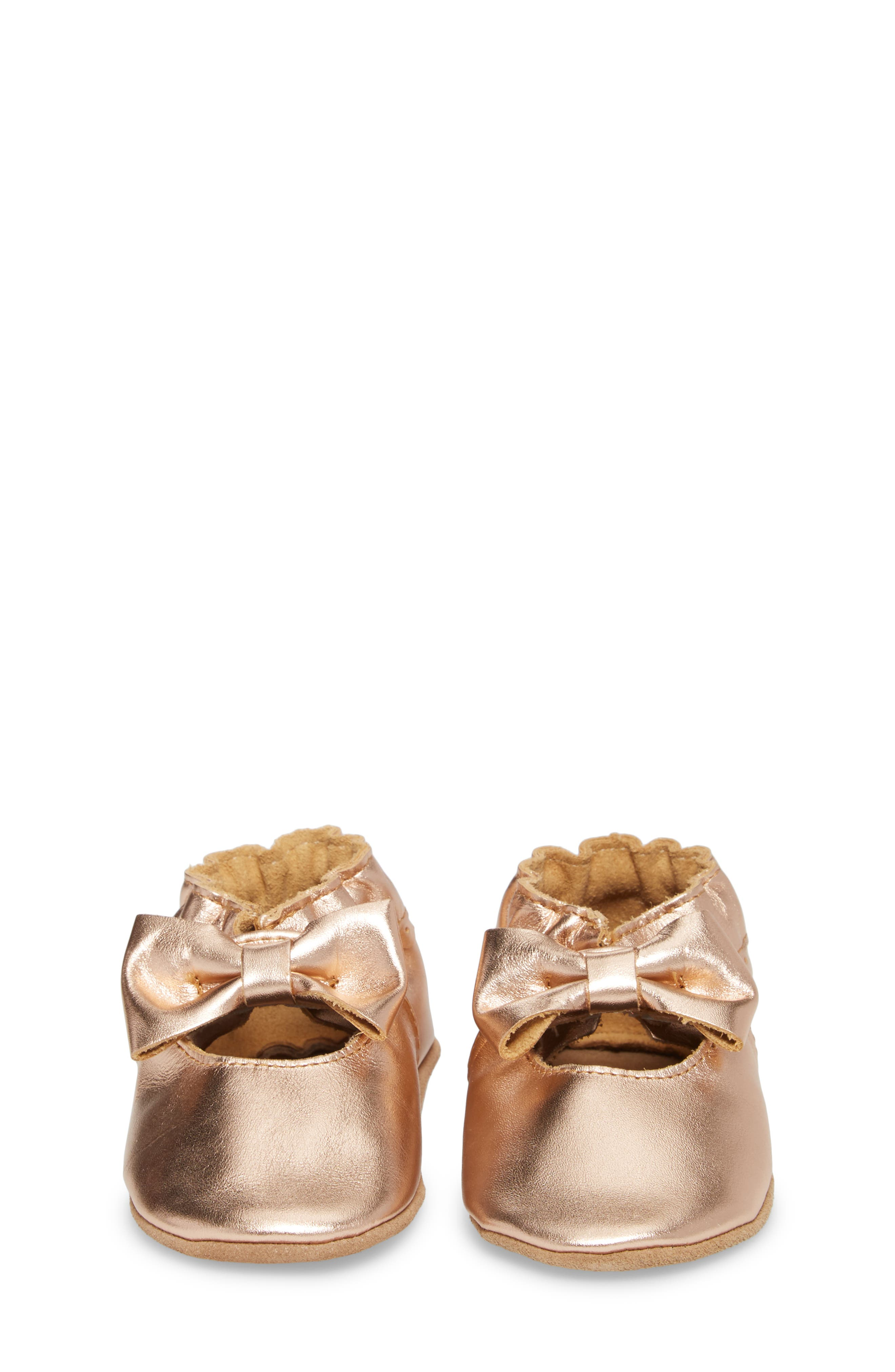 ROBEEZ<SUP>®</SUP>, Rosie Crib Shoes, Alternate thumbnail 4, color, ROSE GOLD