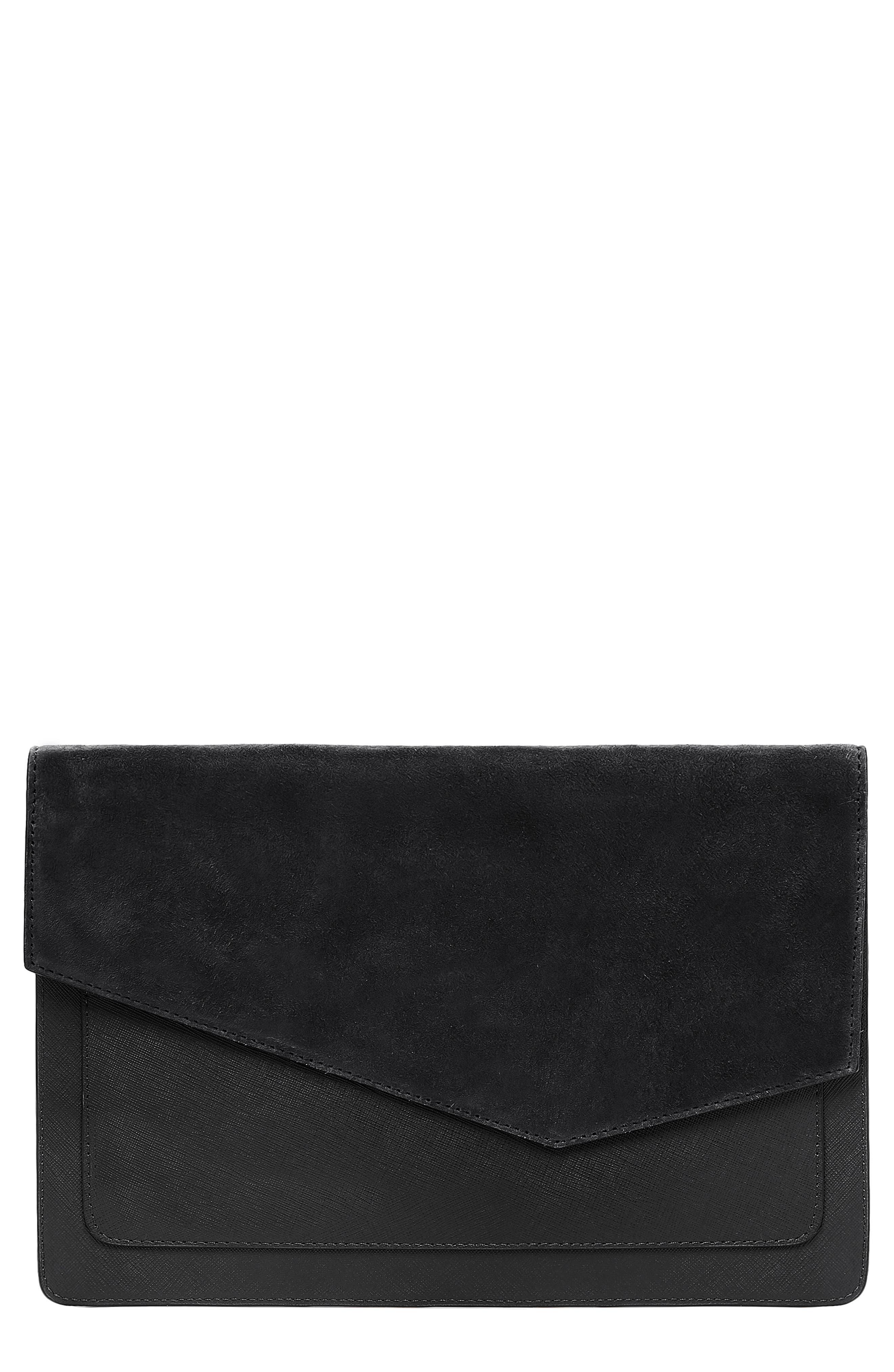 BOTKIER, Cobble Hill Calfskin Leather Flap Clutch, Main thumbnail 1, color, 001