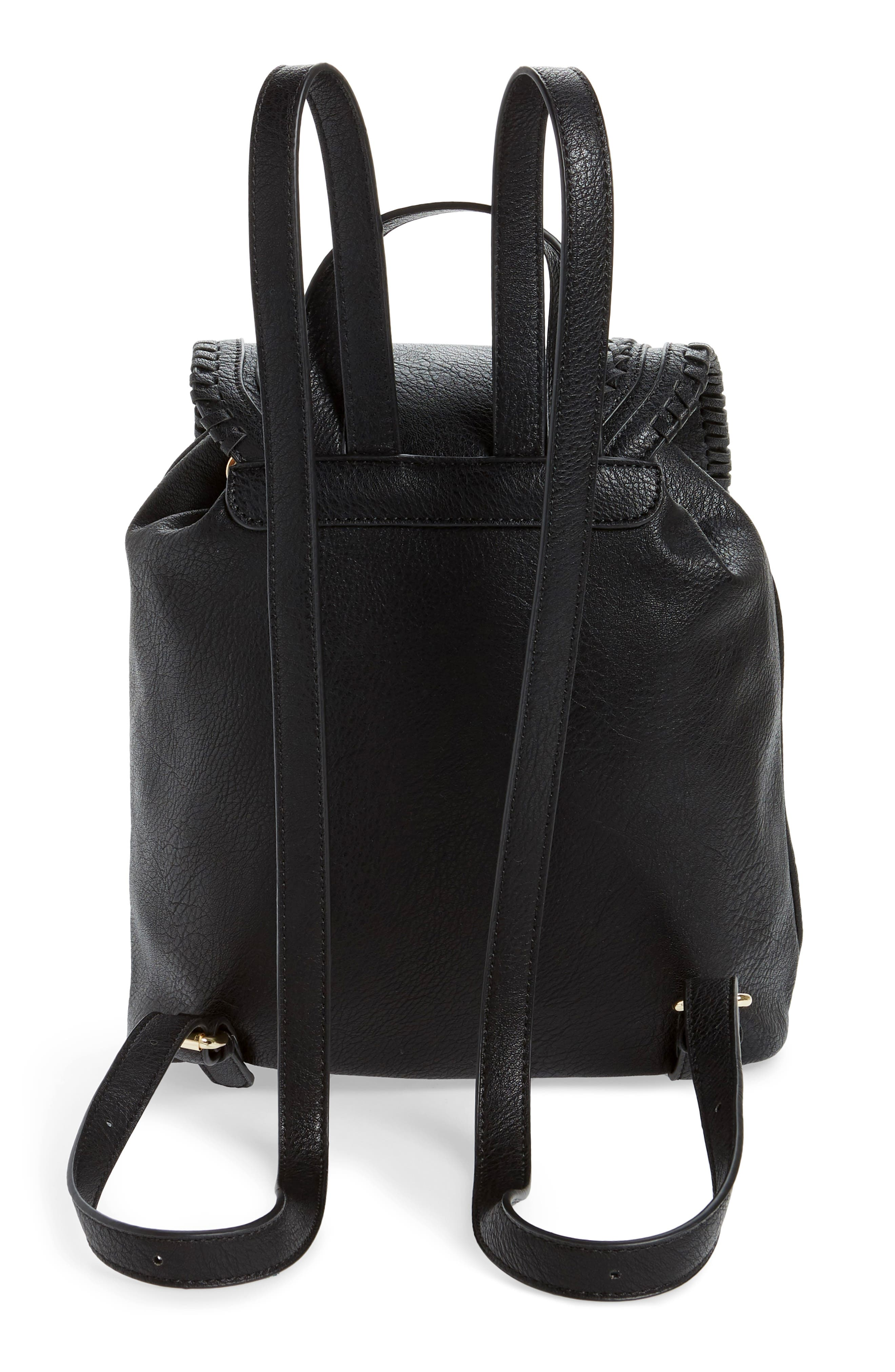 SOLE SOCIETY, Destin Faux Leather Backpack, Alternate thumbnail 4, color, BLACK