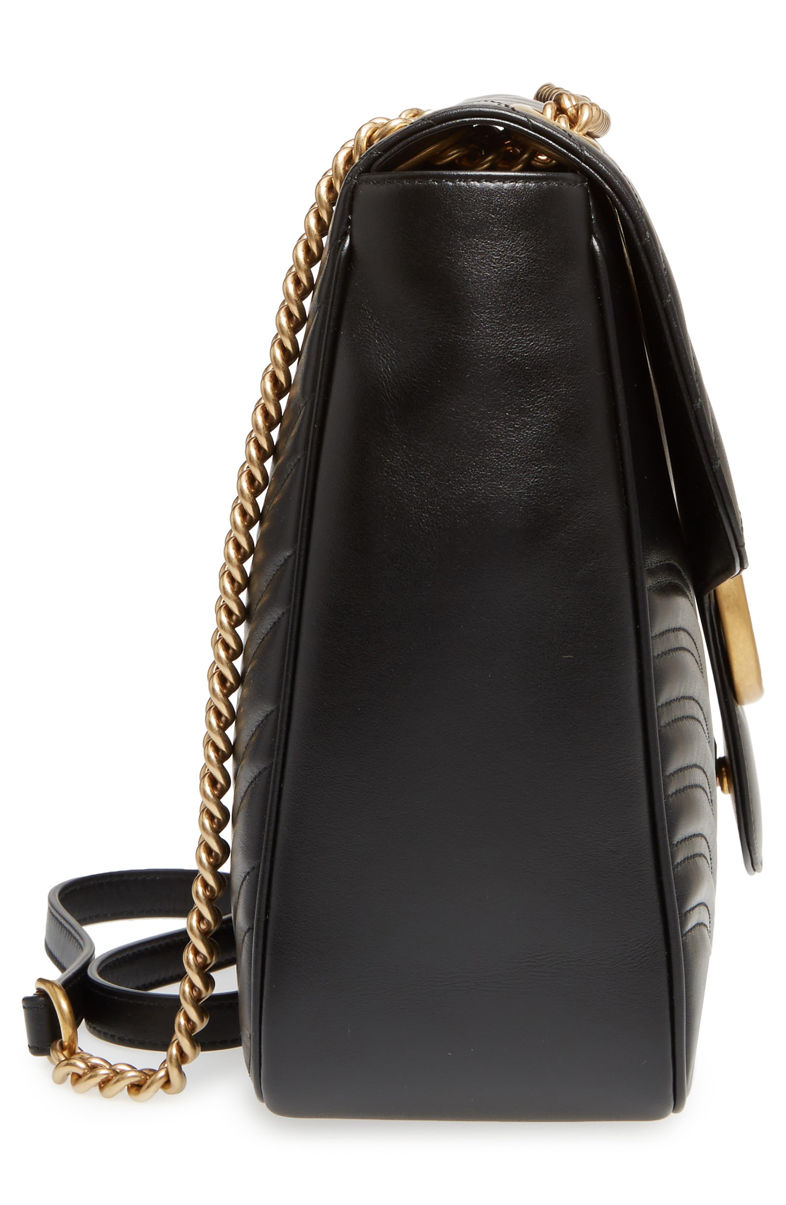 GUCCI, GG Large Marmont 2.0 Matelassé Leather Shoulder Bag, Alternate thumbnail 5, color, NERO