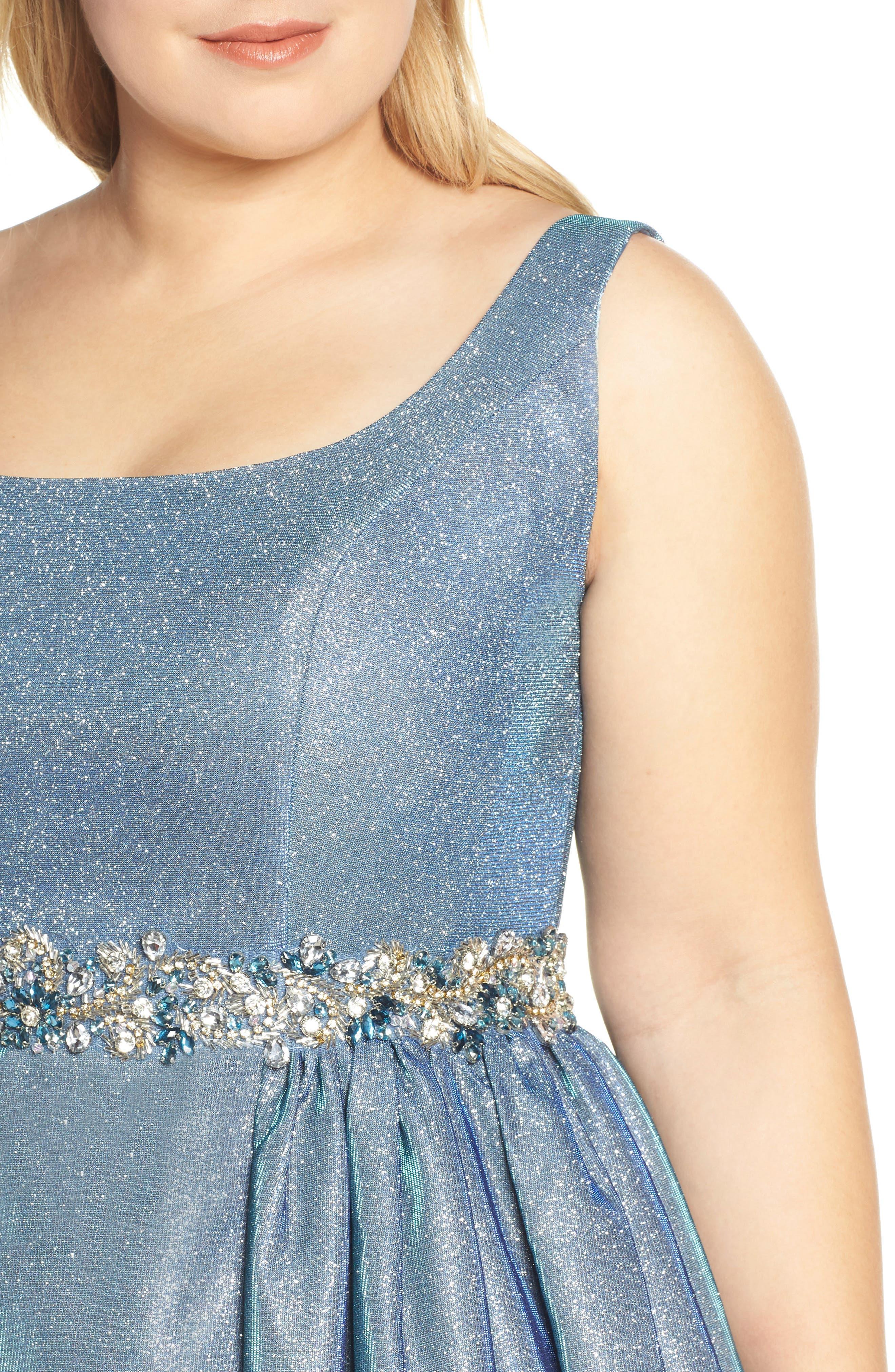 MAC DUGGAL, Jeweled Waist Metallic Evening Dress, Alternate thumbnail 5, color, BLUE