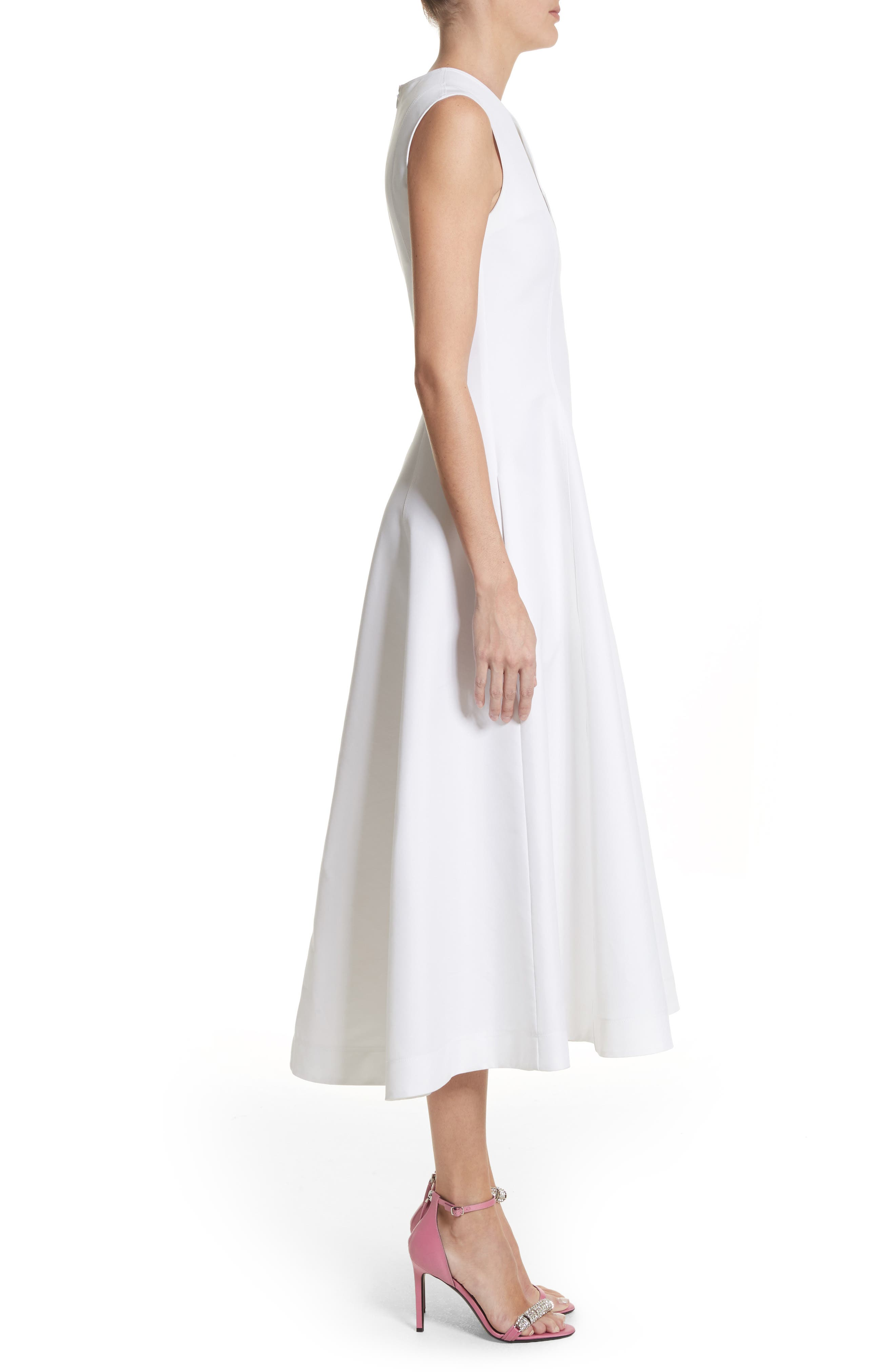 CALVIN KLEIN 205W39NYC, Flap Detail A-Line Dress, Alternate thumbnail 3, color, OPTIC WHITE