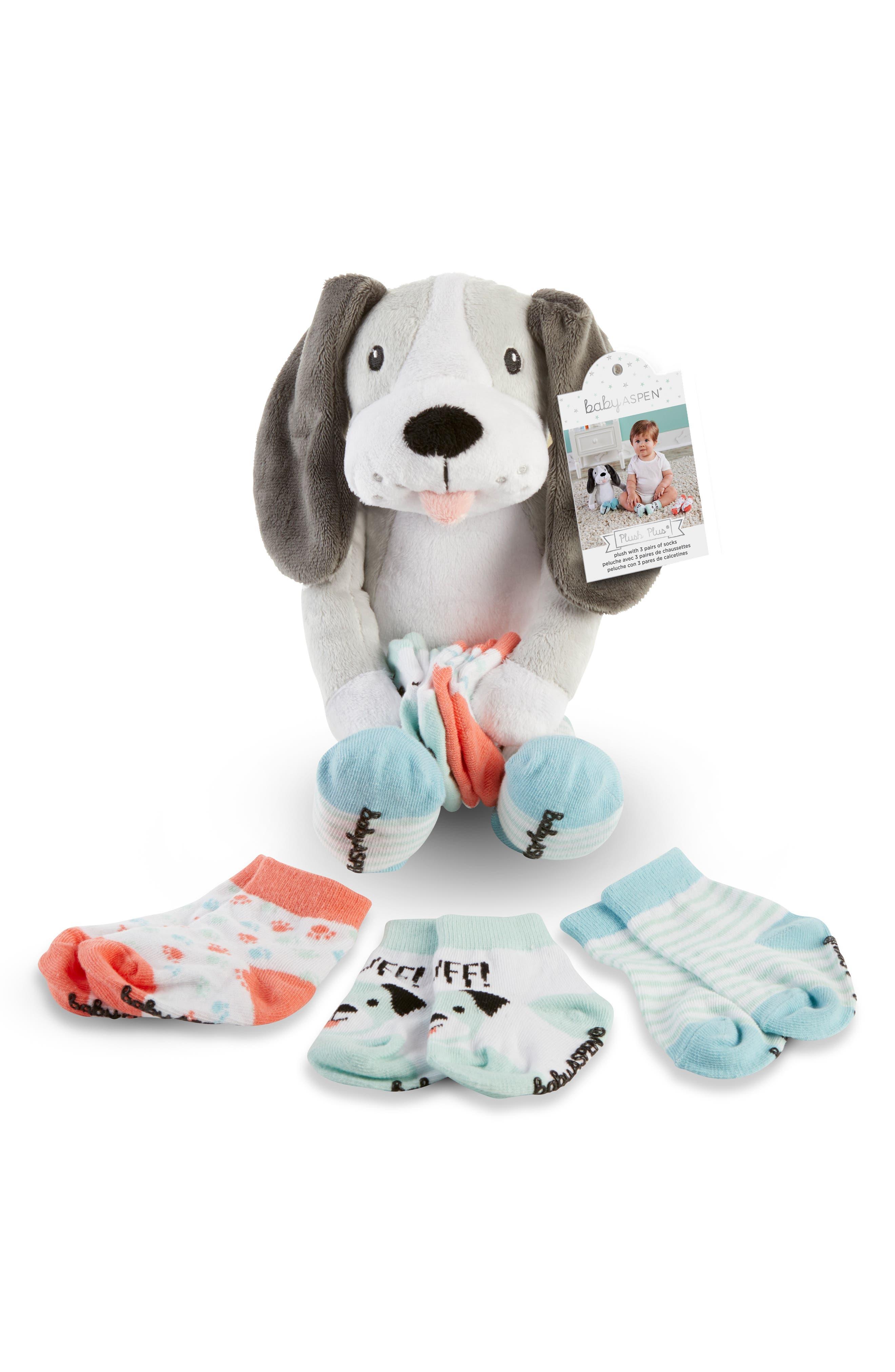 Infant Baby Aspen Puppy Plush Socks Bib Mitts  Rattle Set