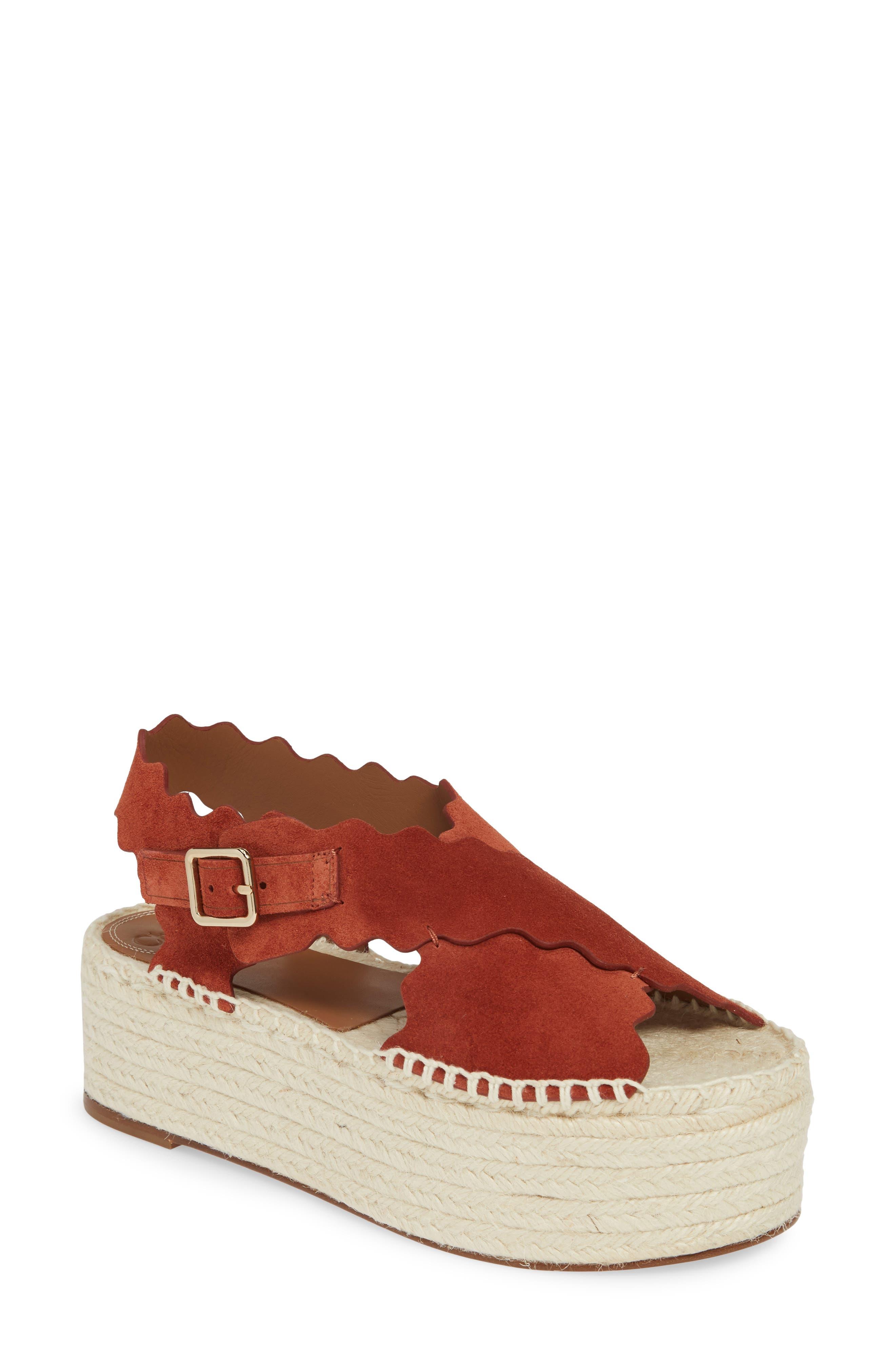 CHLOÉ, Lauren Scalloped Flatform Sandal, Main thumbnail 1, color, EARTHY RED