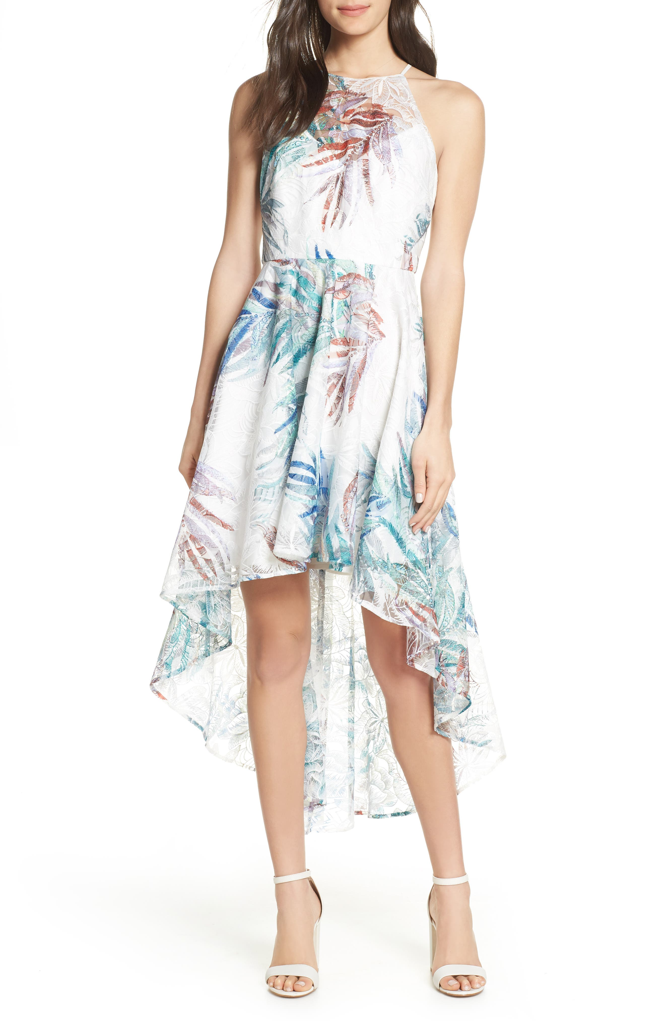 Mark + James By Badgley Mischka Leaf Embroidered High/low Dress, White
