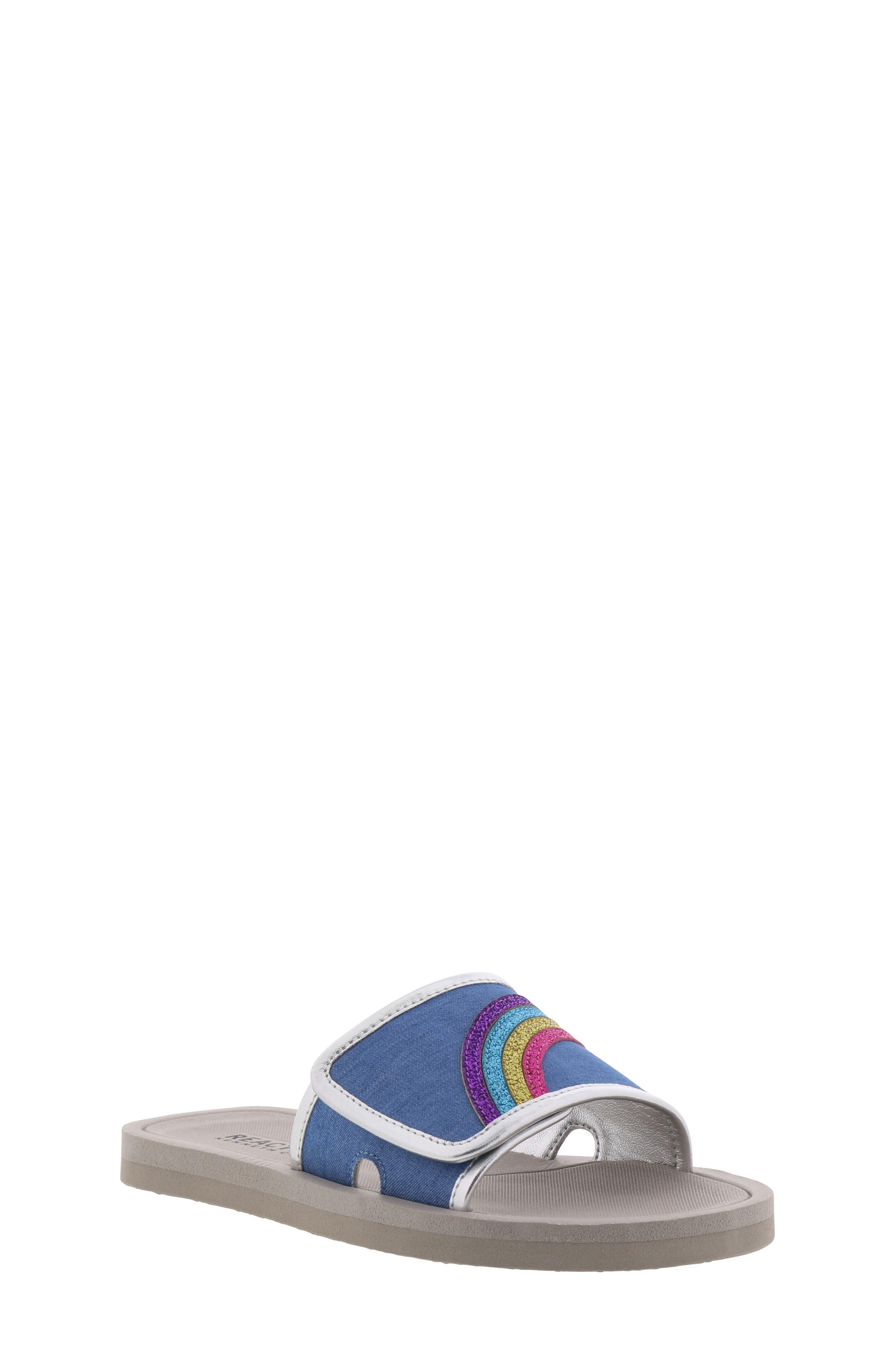 REACTION KENNETH COLE, Elise Karla Rainbow Slide Sandal, Main thumbnail 1, color, DENIM