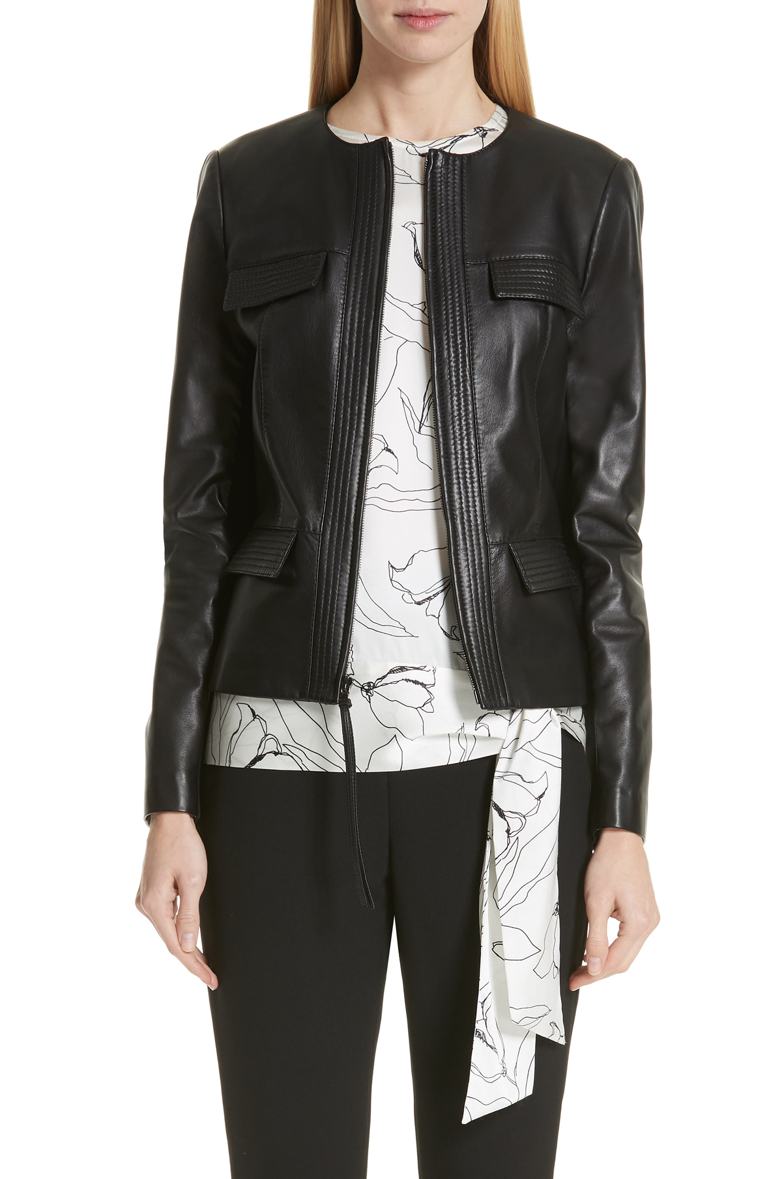 ST. JOHN COLLECTION, Luxe Nappa Leather Jacket, Main thumbnail 1, color, CAVIAR