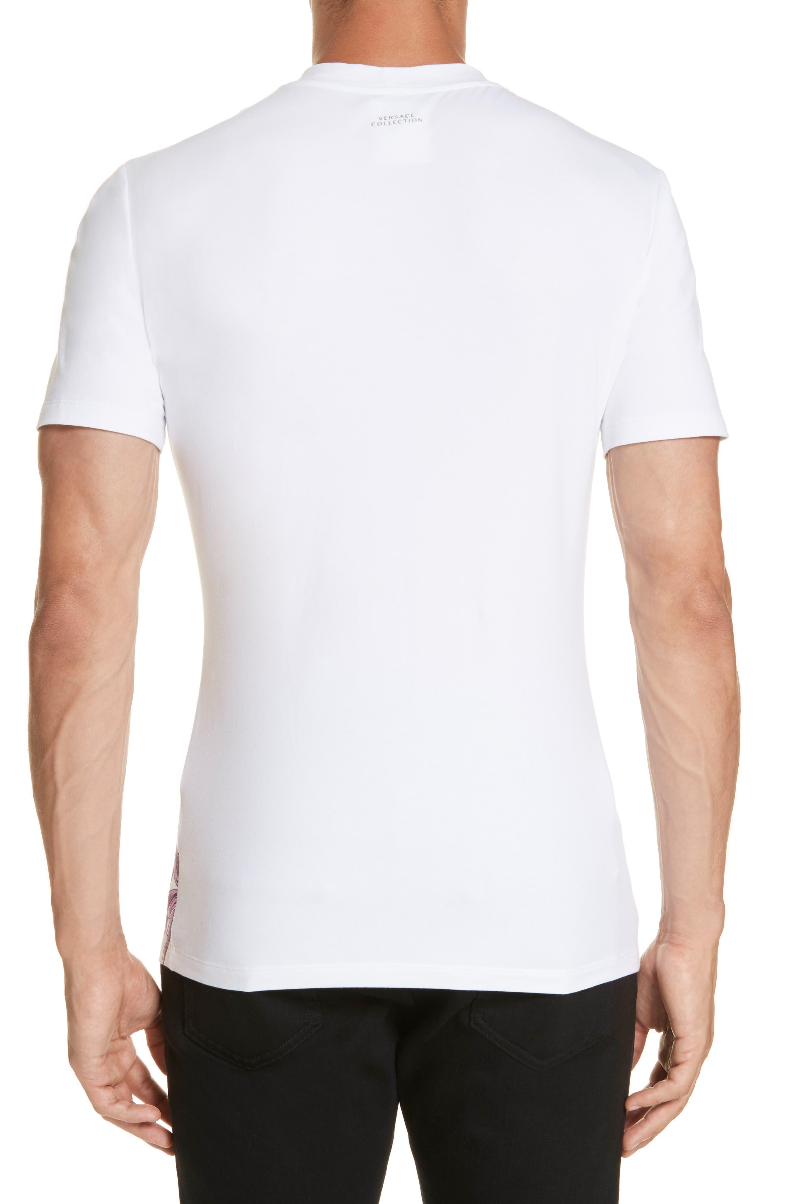 VERSACE COLLECTION, Filigree Print T-Shirt, Alternate thumbnail 2, color, 100