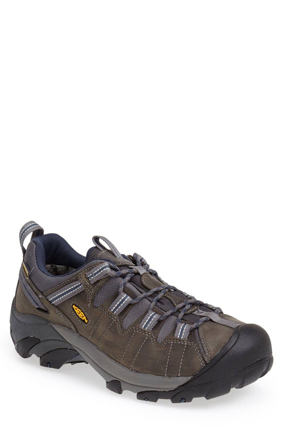 KEEN 'Targhee II' Waterproof Hiking Shoe, Main, color, GARGOLYE/ MIDNGHT NAVY