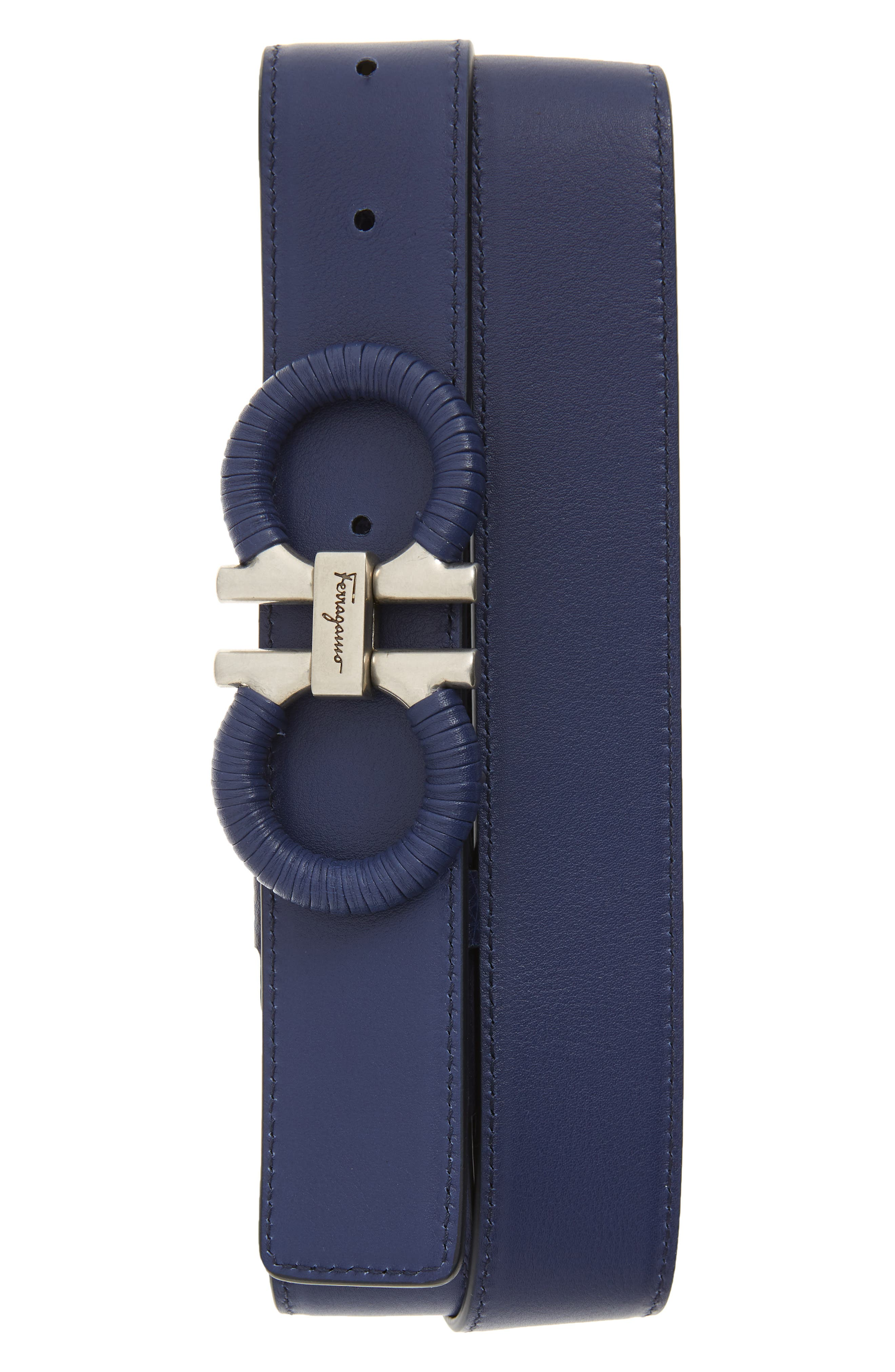 SALVATORE FERRAGAMO, Textured & Smooth Leather Belt, Alternate thumbnail 2, color, CADET BLUE