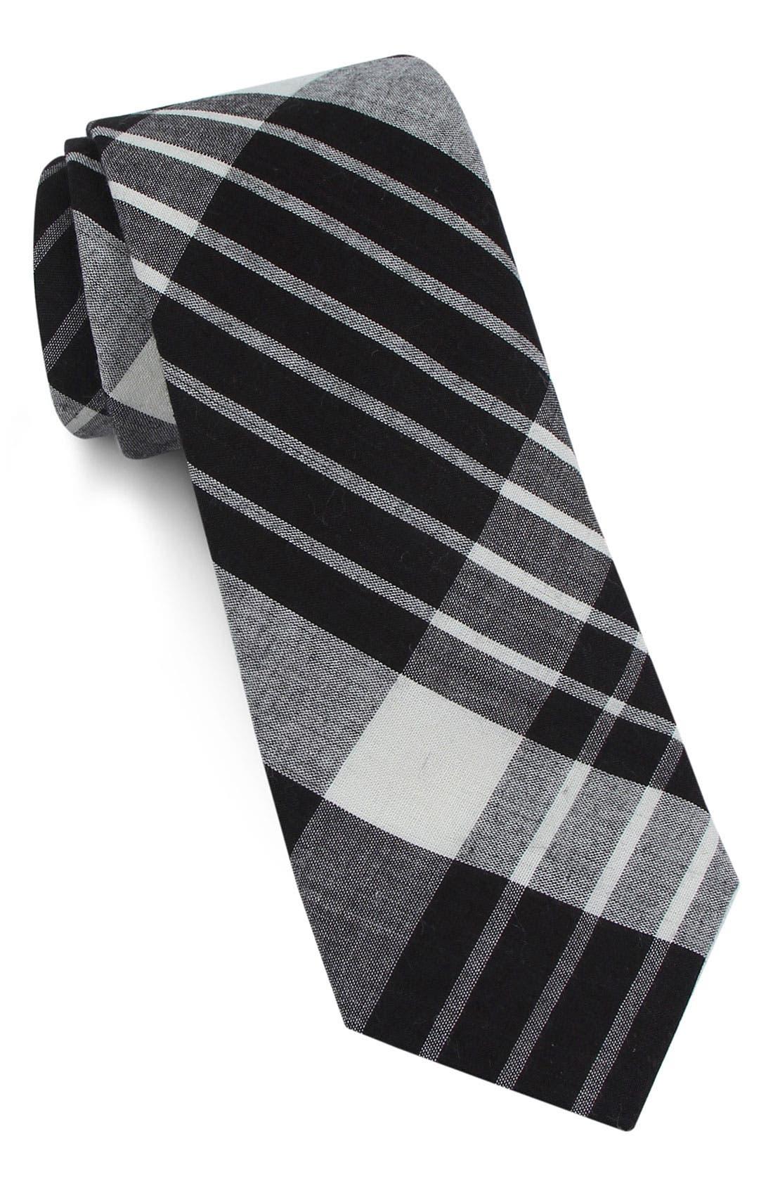 1901 Plaid Skinny Tie, Main, color, 001