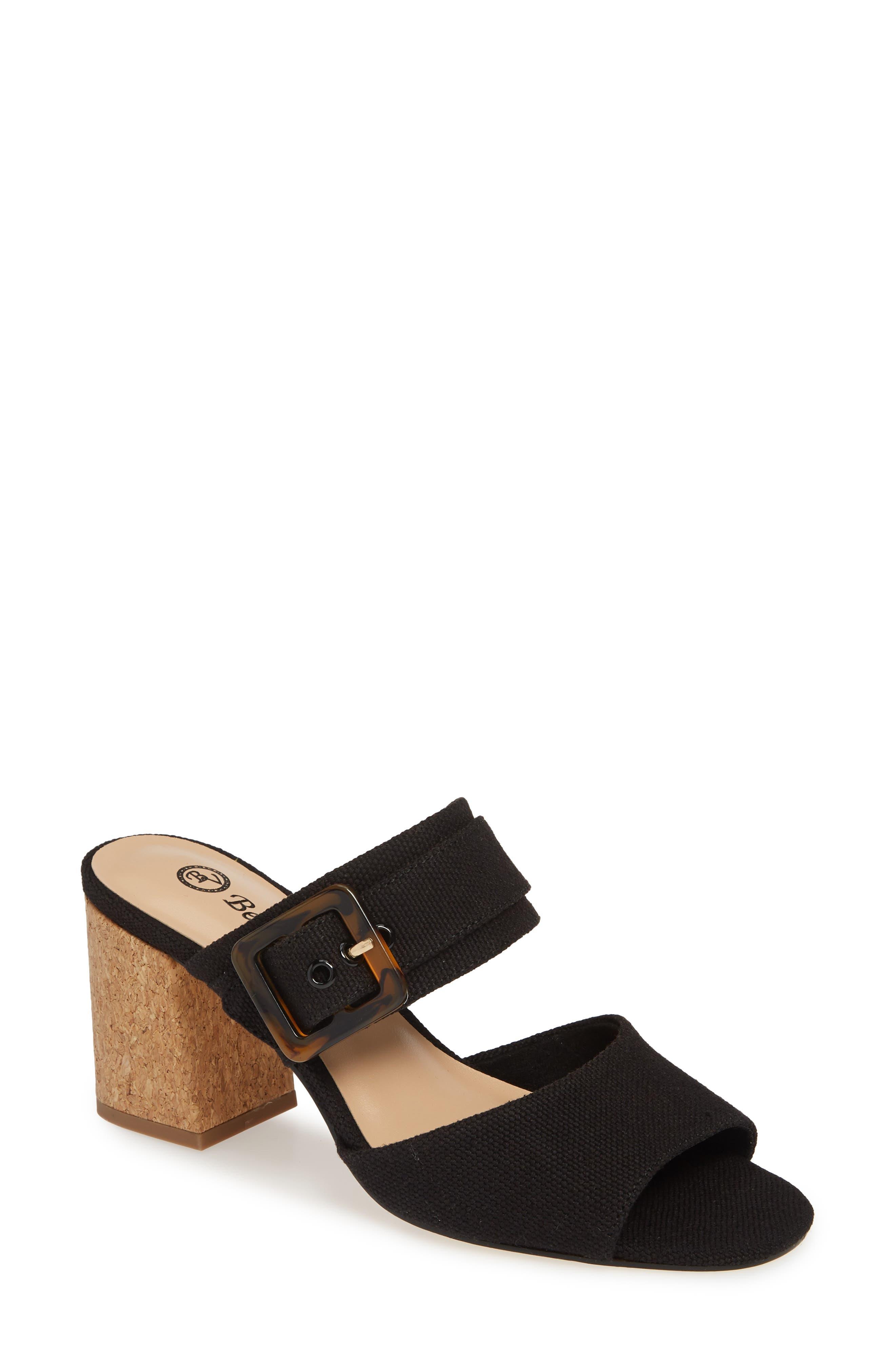 BELLA VITA, Tory II Buckle Slide Sandal, Main thumbnail 1, color, BLACK LINEN FABRIC
