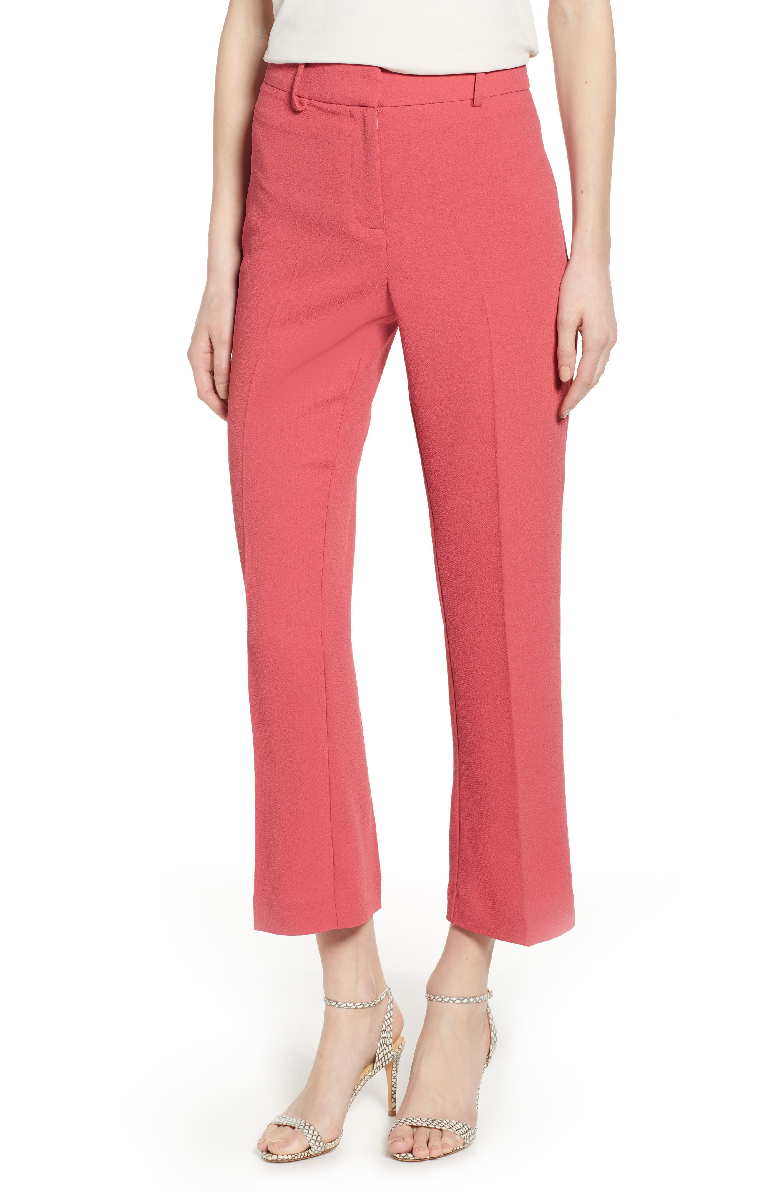 1.STATE, Crepe Kick Flare Ankle Pants, Main thumbnail 1, color, CORAL POPPY
